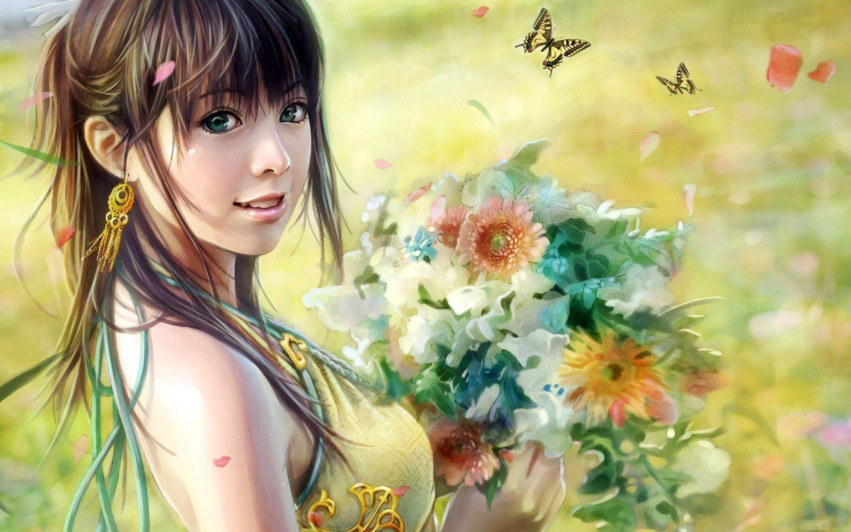Девушка с букетом цветов скачать