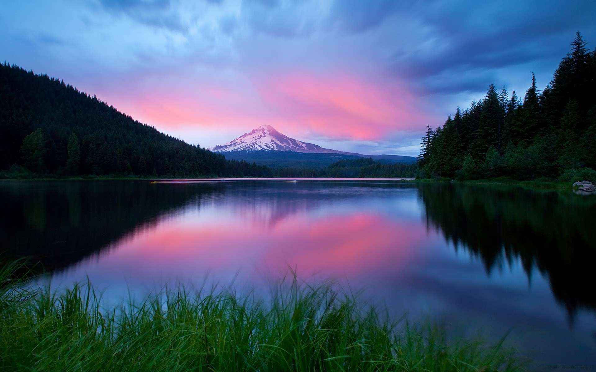 закат озеро небо трава  № 3878861 бесплатно