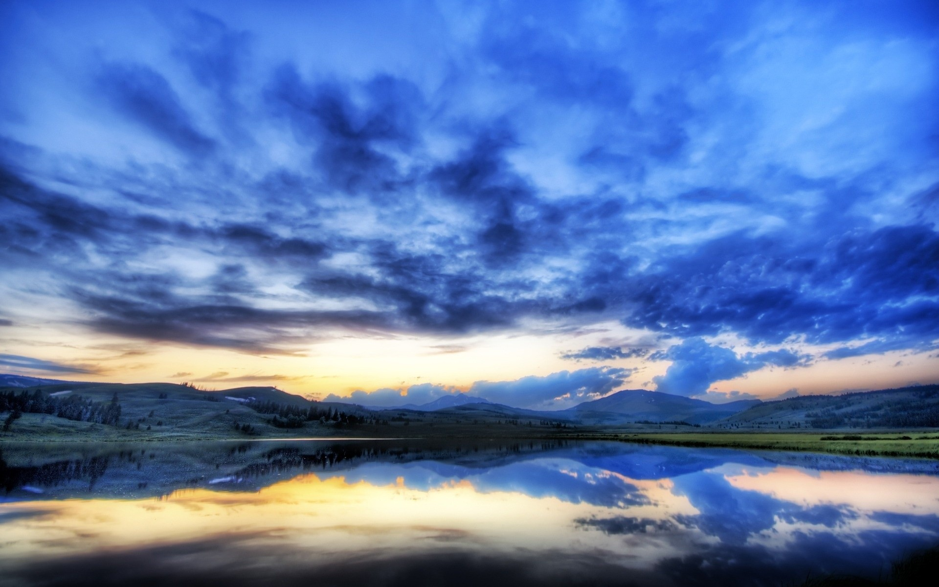 закат горы небо вода  № 1019698 загрузить