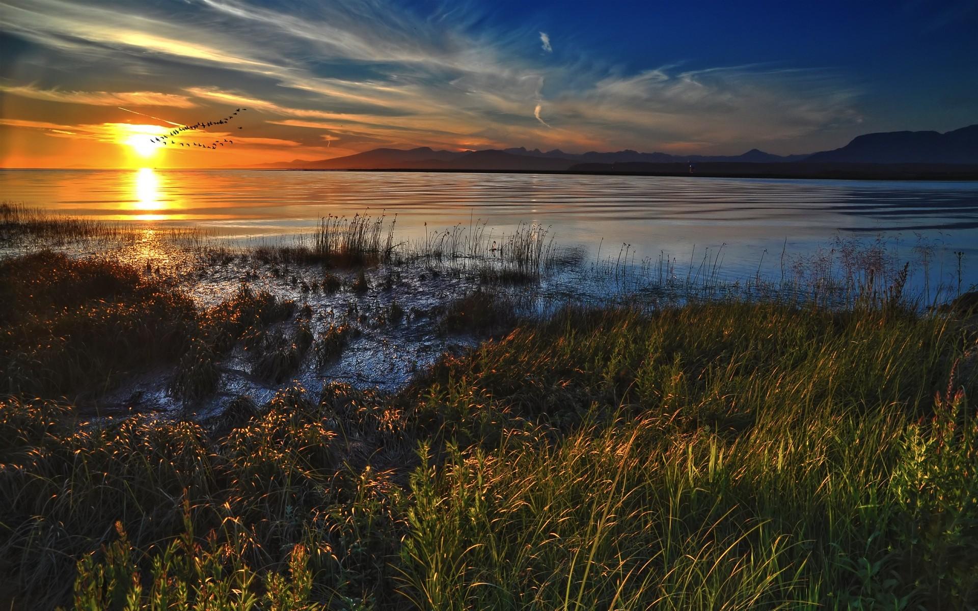 закат озеро осень трава  № 1020783 загрузить
