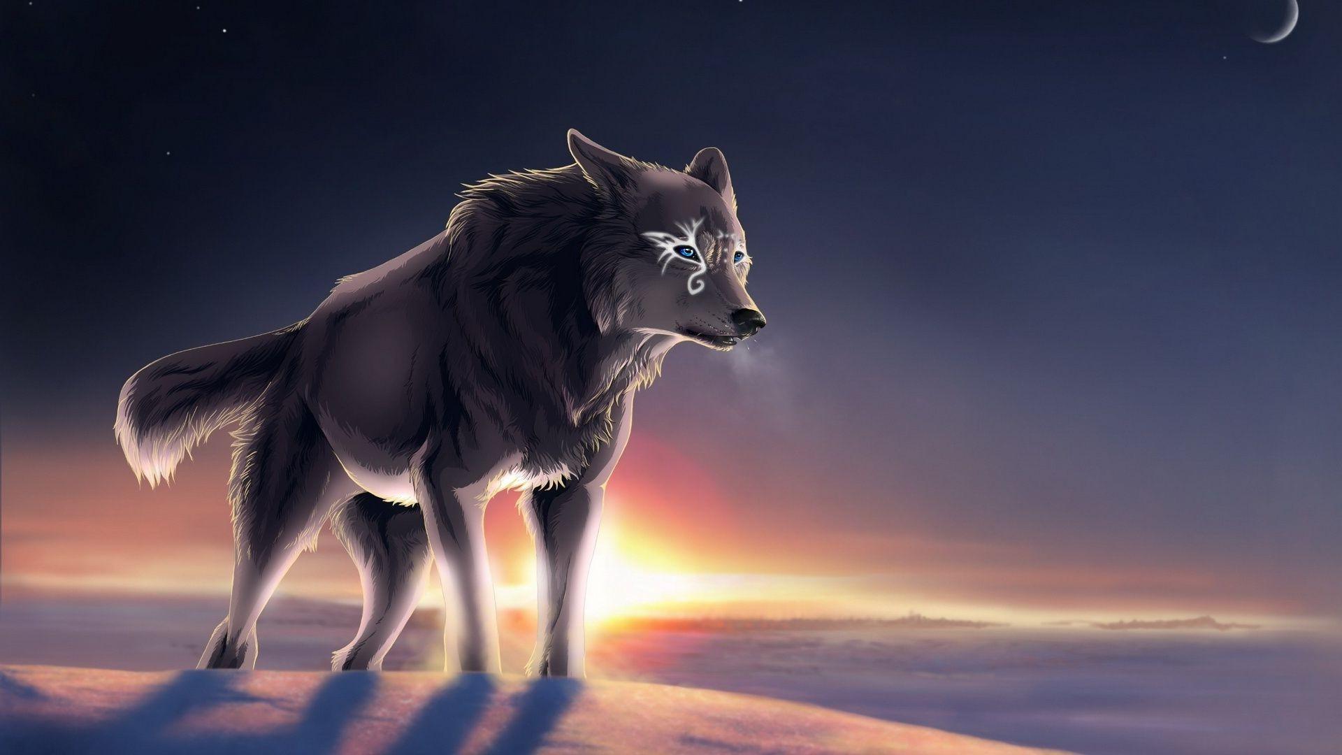 рисованные обои для рабочего стола волки № 138318 без смс
