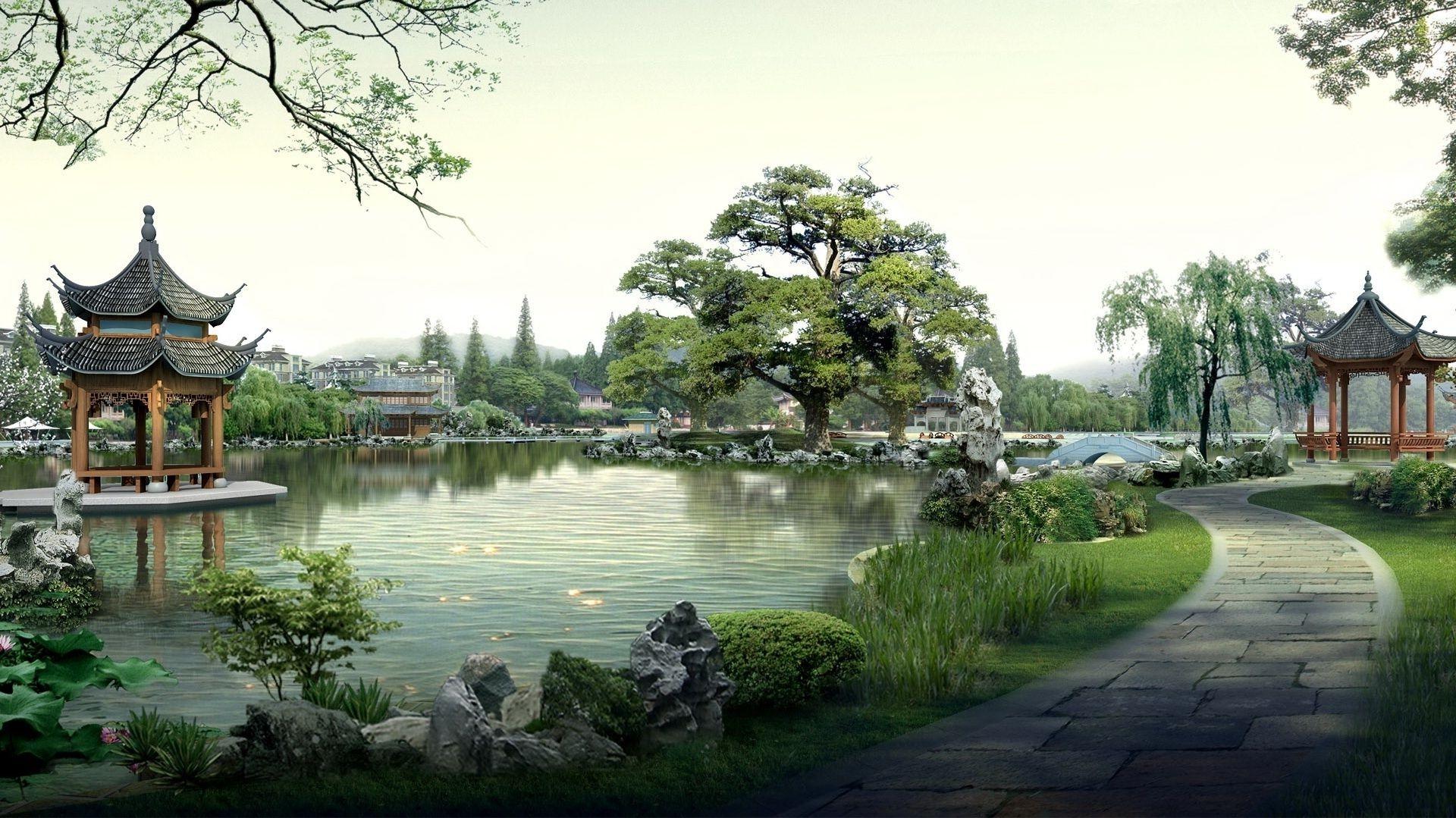 китайский пейзаж обои на рабочий стол № 501920 бесплатно