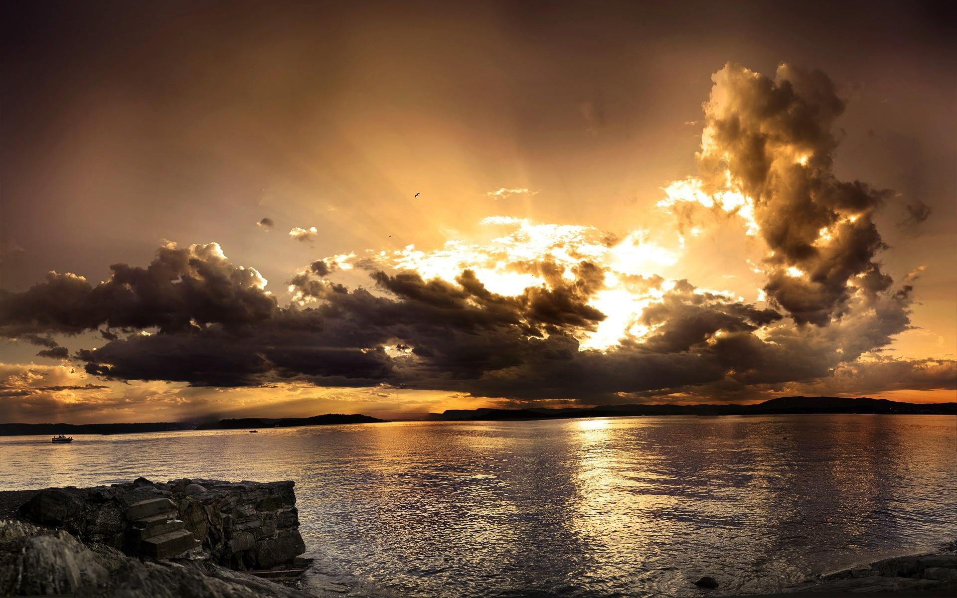 природа горизонт солнце озеро облака отражение  № 623474 загрузить