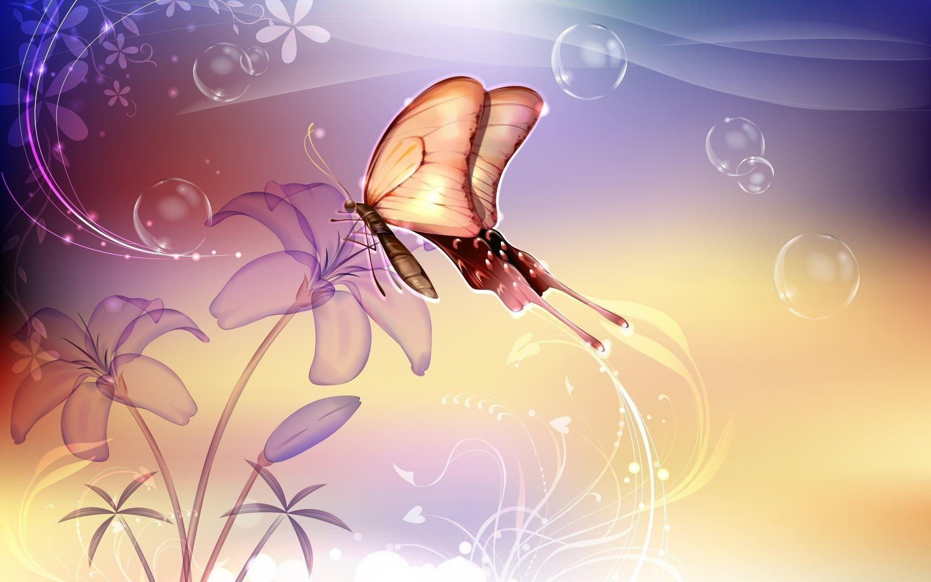графика бабочки цветы вода graphics butterfly flowers water  № 1313492 бесплатно