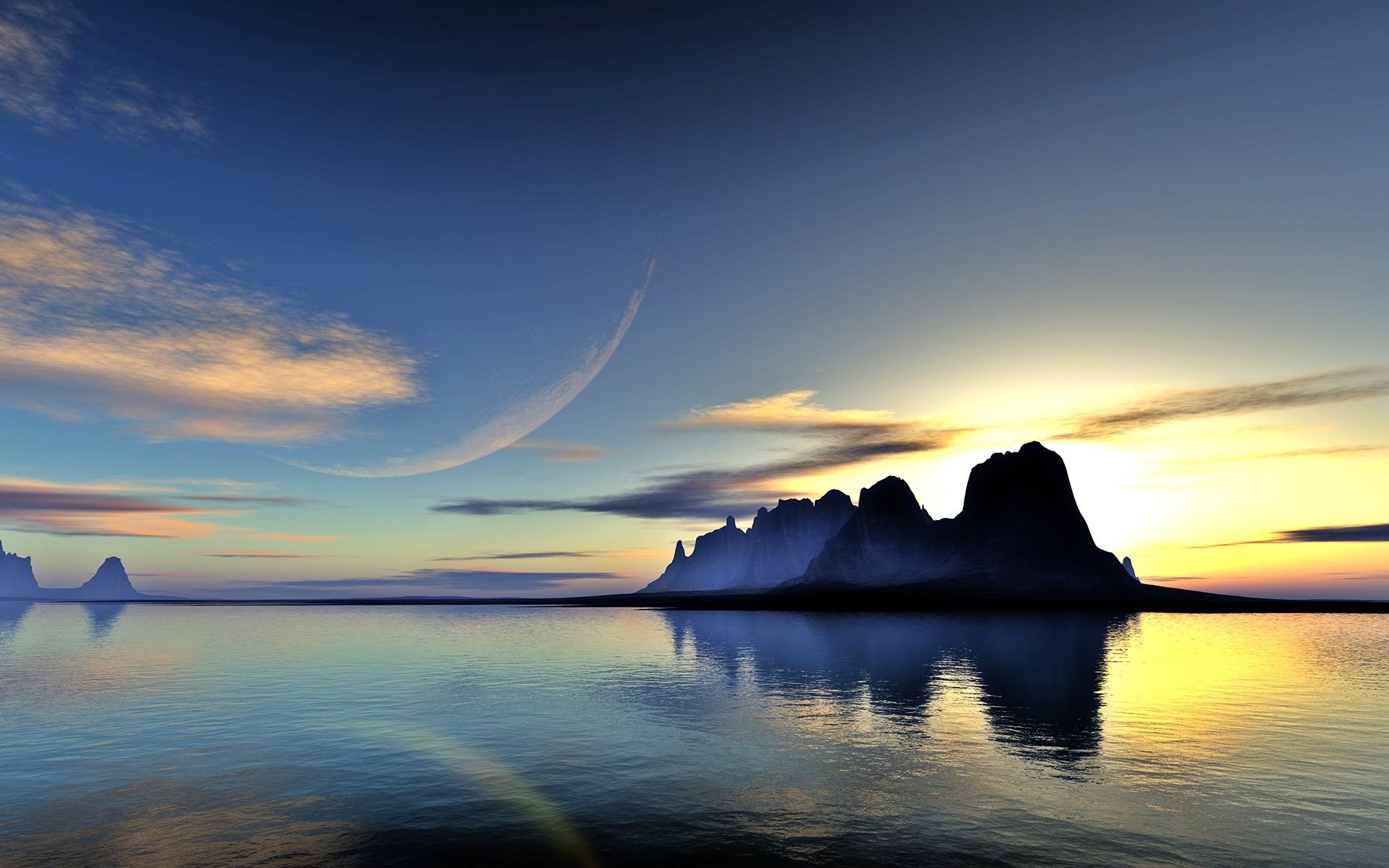 природа скалы море солнце облака отражение бесплатно