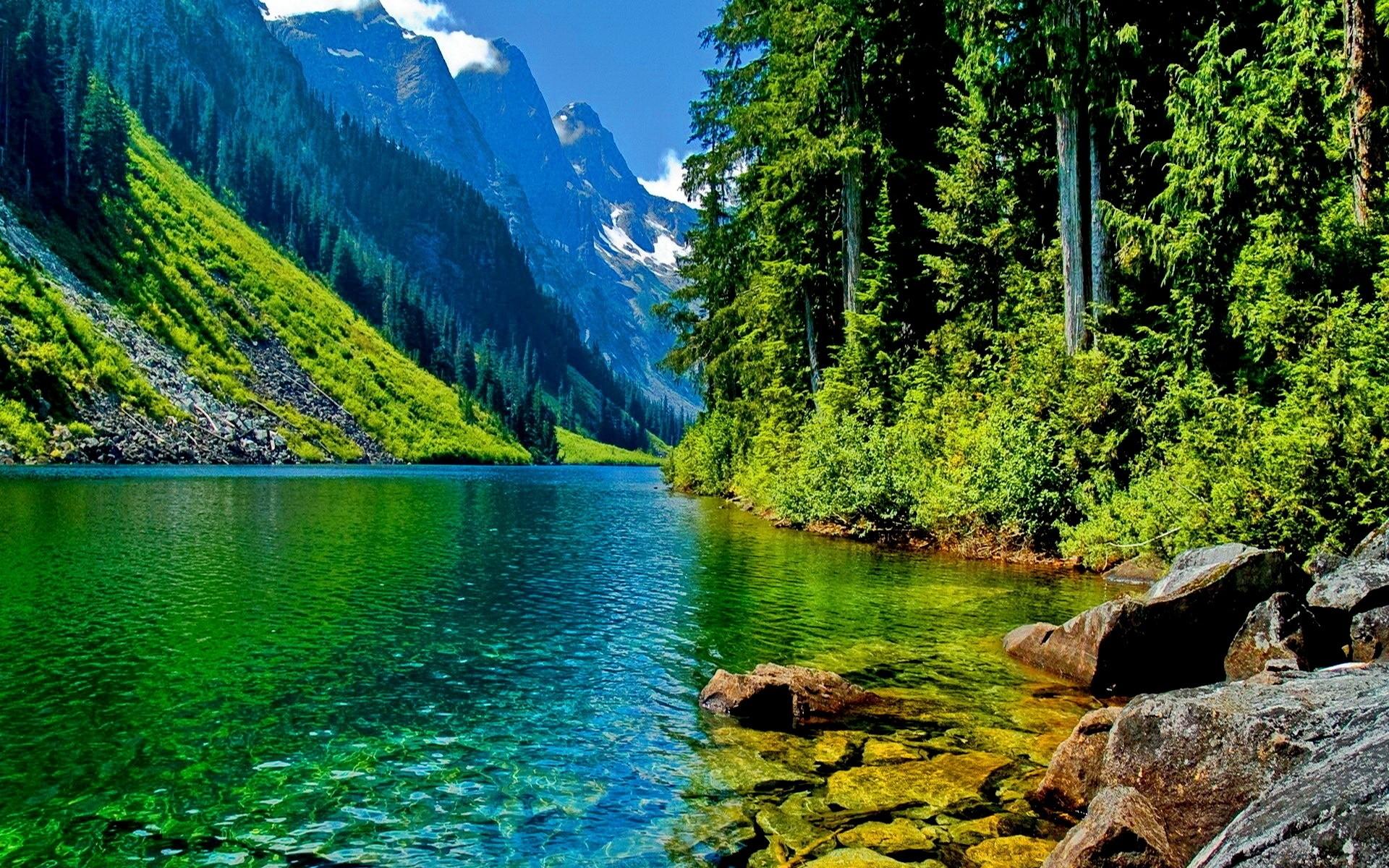 Открытка с озером, планета земля