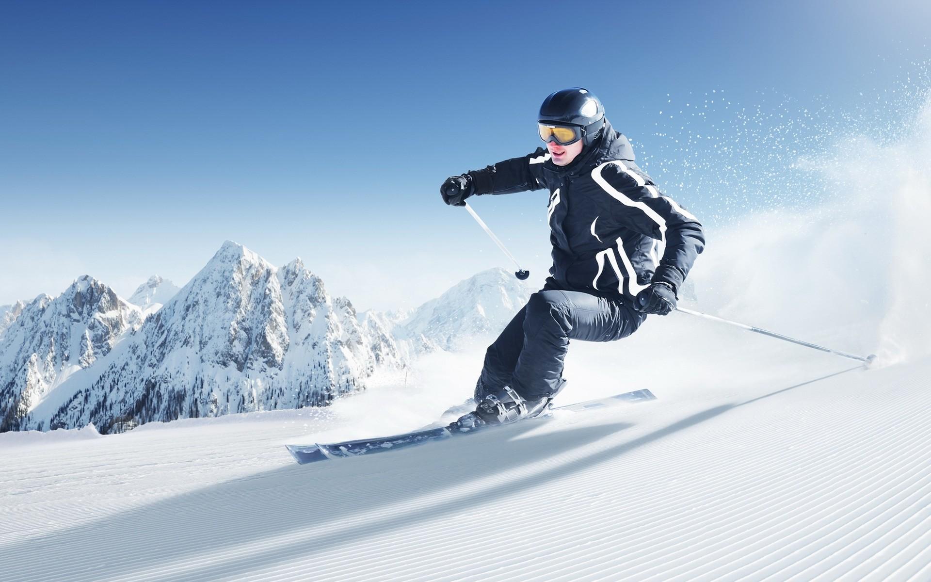 Обои лыжник, спуск, склон. Спорт foto 10