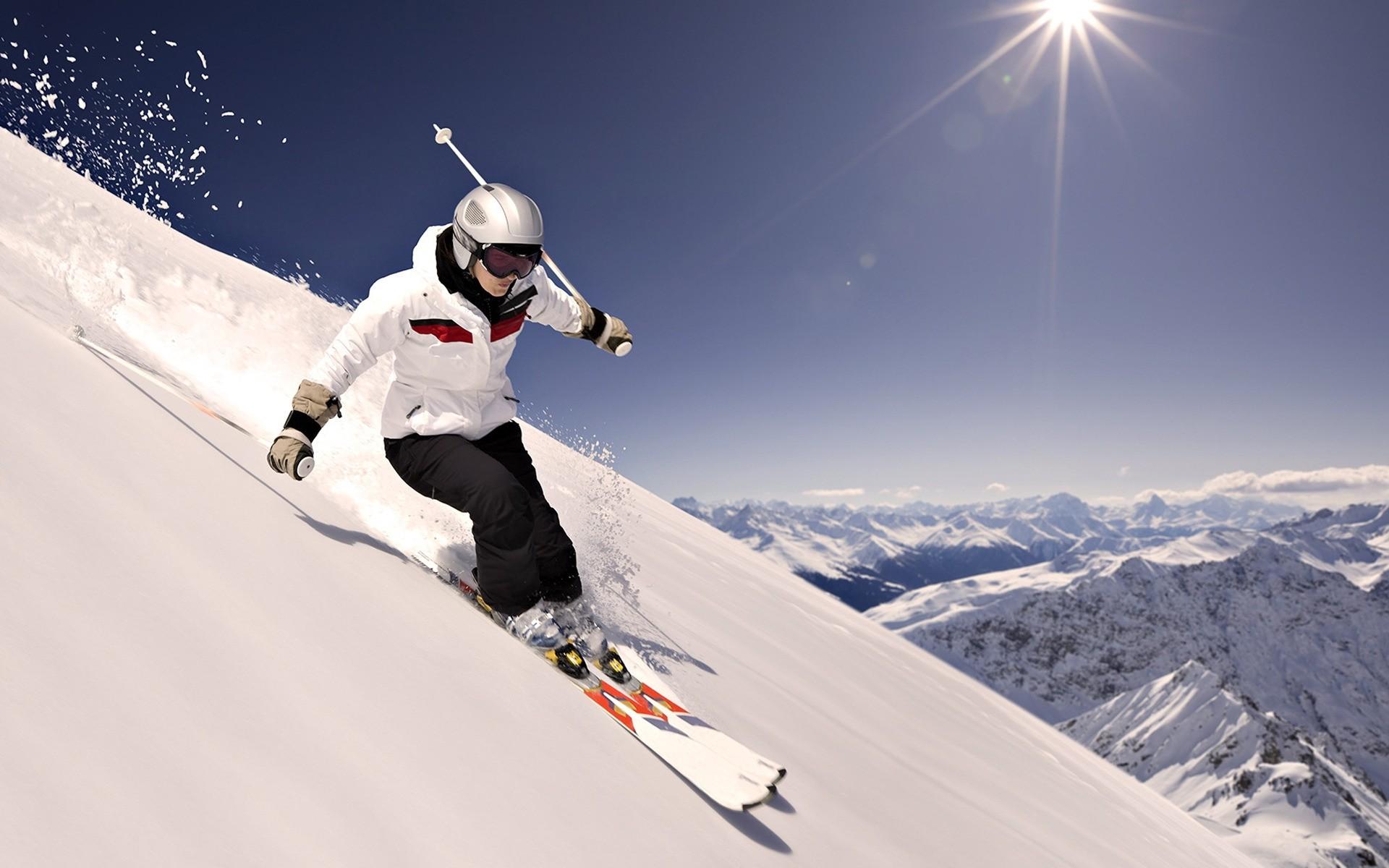 Обои лыжник, спуск, склон. Спорт foto 18