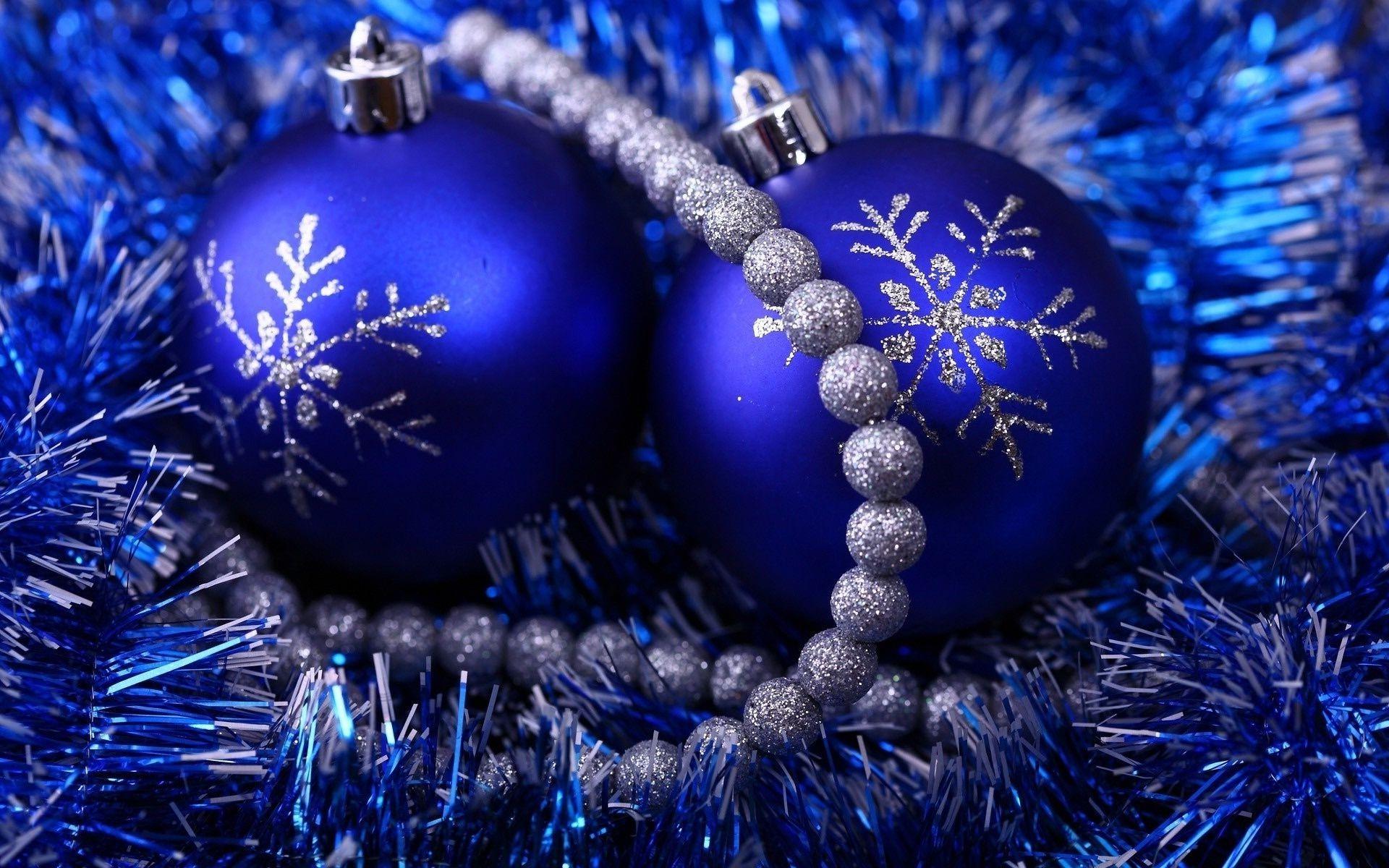 Новый Год Обои Синие Шары