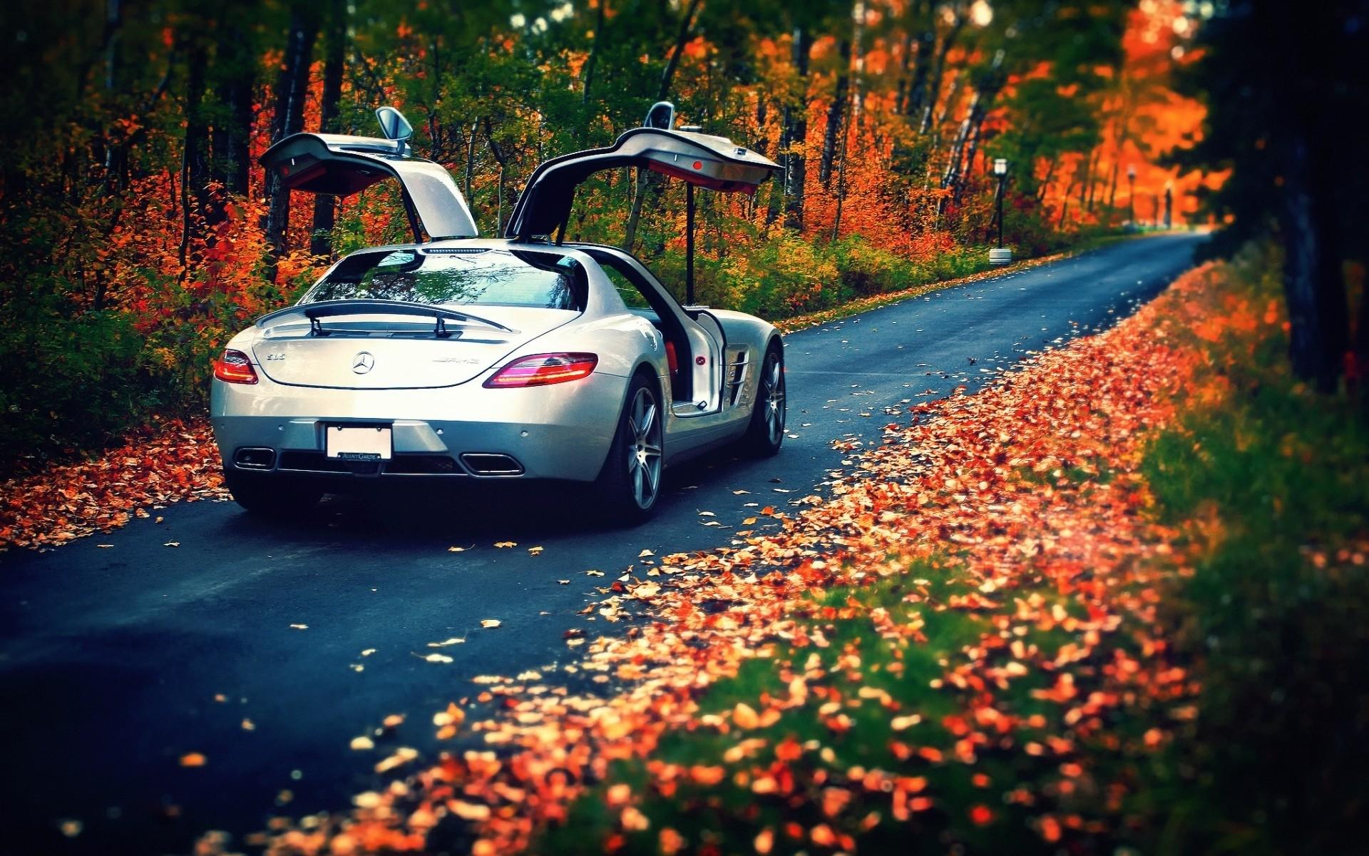 Mercedes серебристый на дороге загрузить