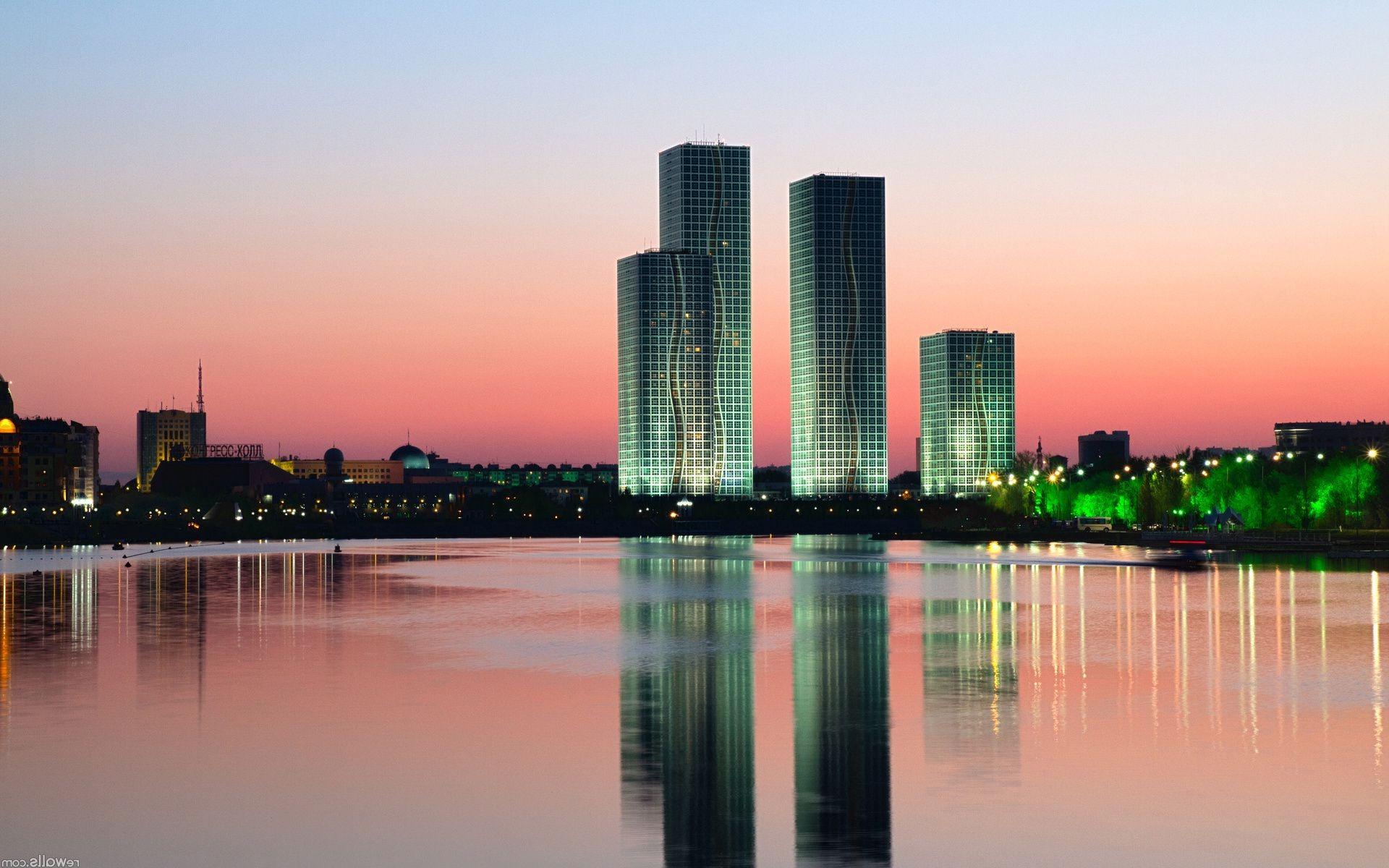 Обои здания, свет, дома, kazakhstan, казахстан. Города foto 8