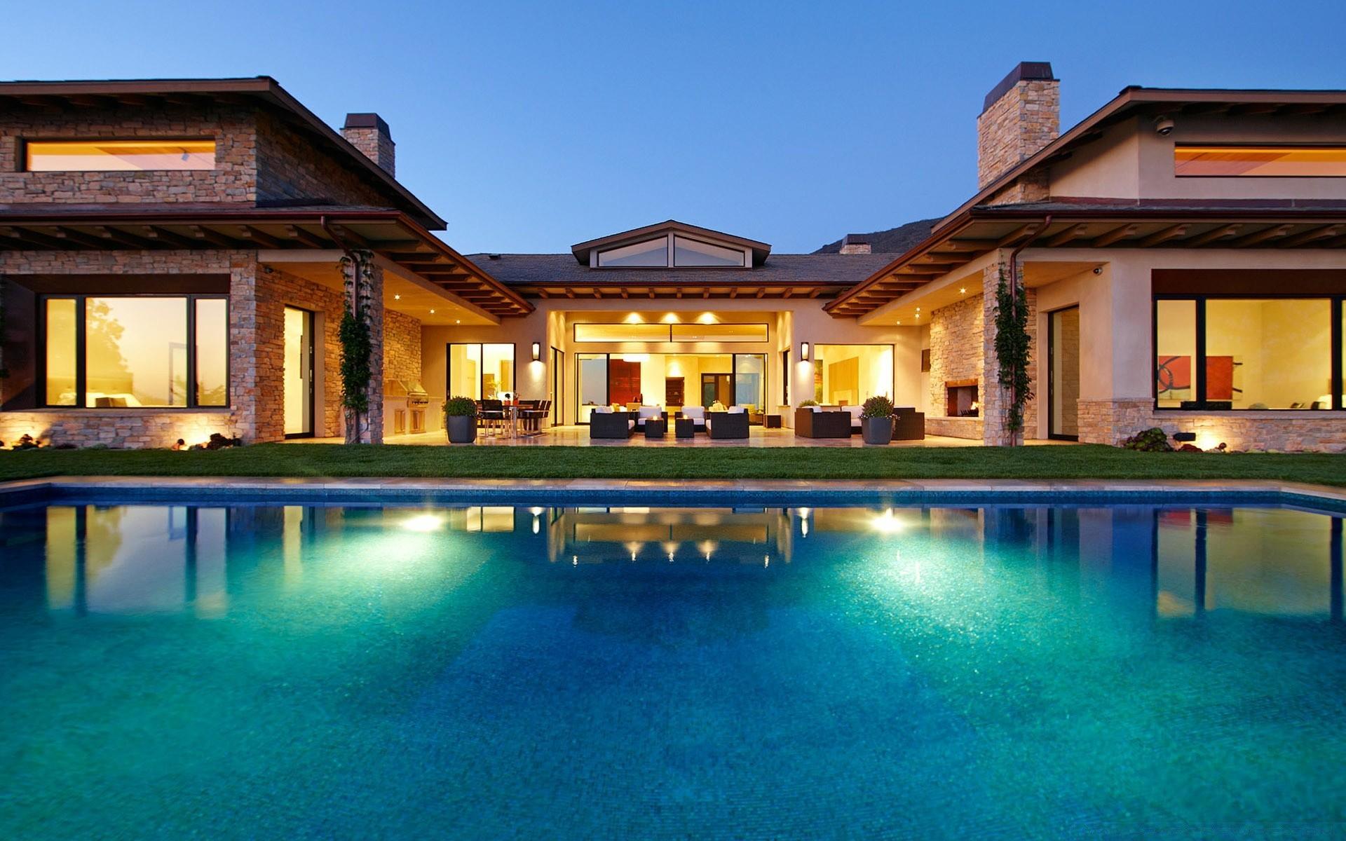 Обои бассейн, дизайн, ночь, особняк. Города foto 17