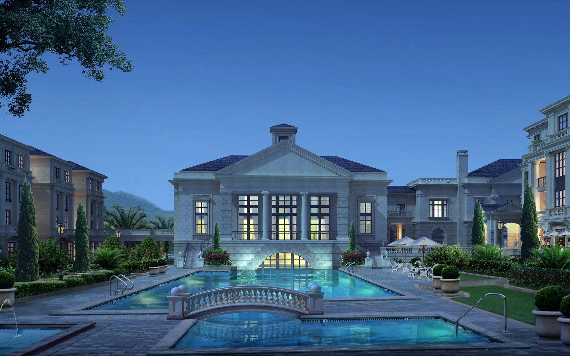 Обои бассейн, дизайн, ночь, особняк. Города foto 19