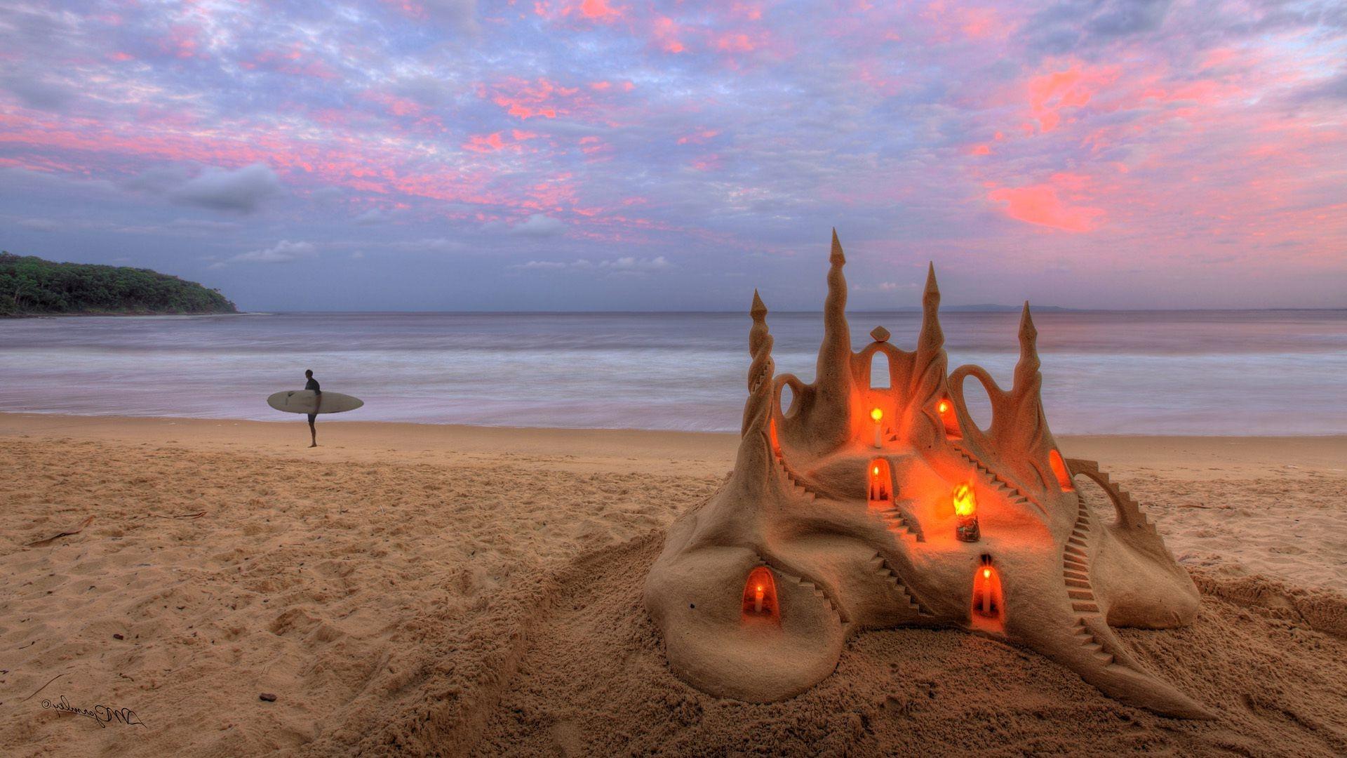 Обои для рабочего стола волны песок ветки берег пена
