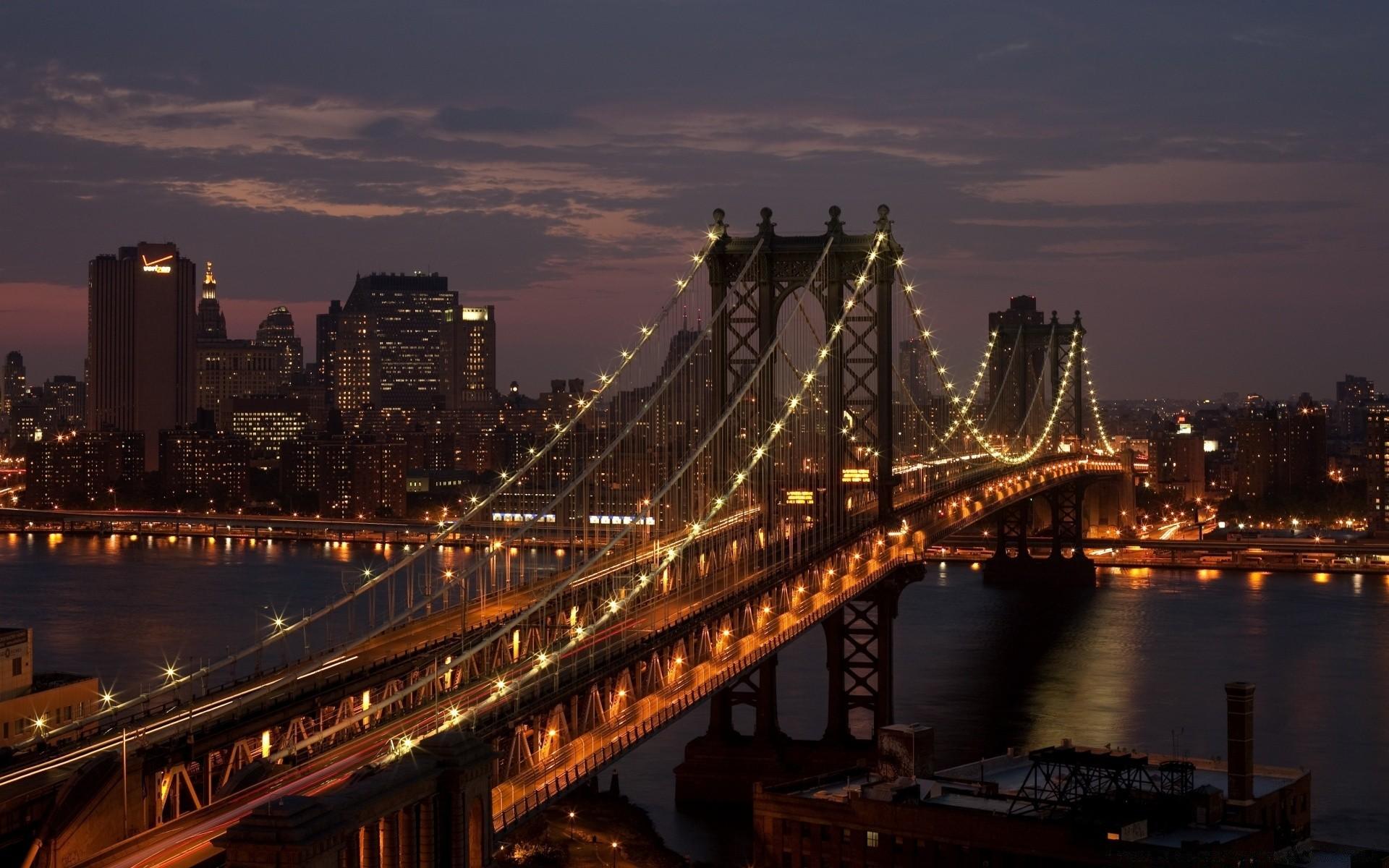 страны архитектура Бруклинский мост река ночь США Нью-Йорк без смс