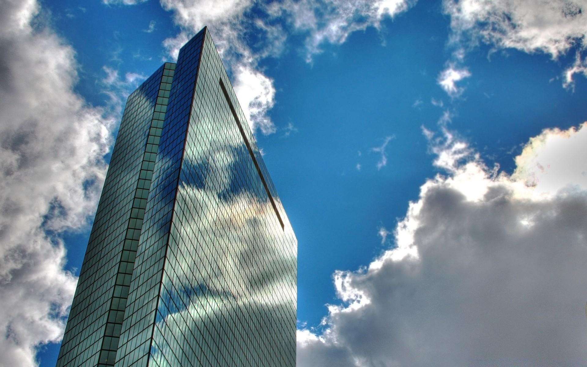 Обои Облака, здания, стекло, небоскребы. Города foto 18