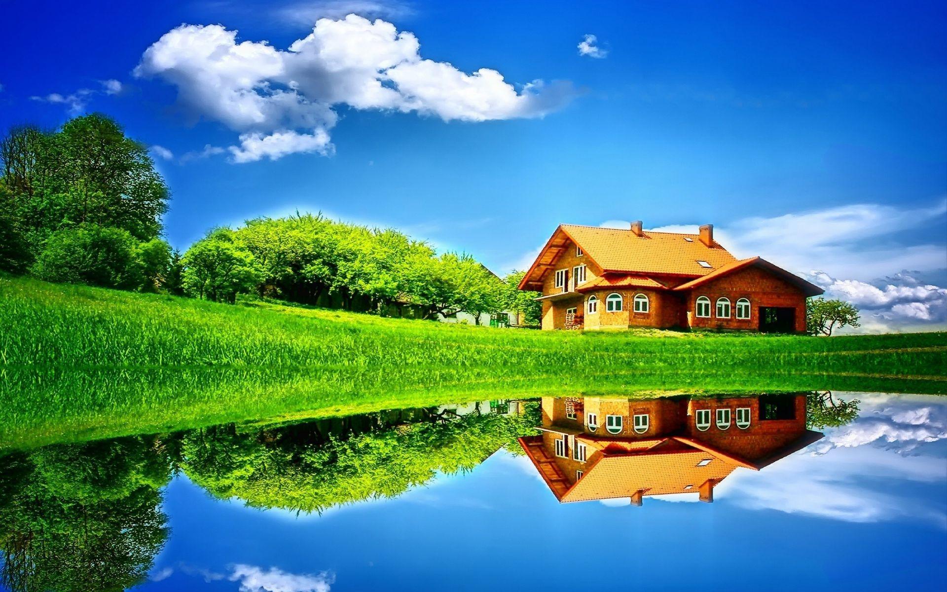 природа отдых дом деревья  № 254045 бесплатно