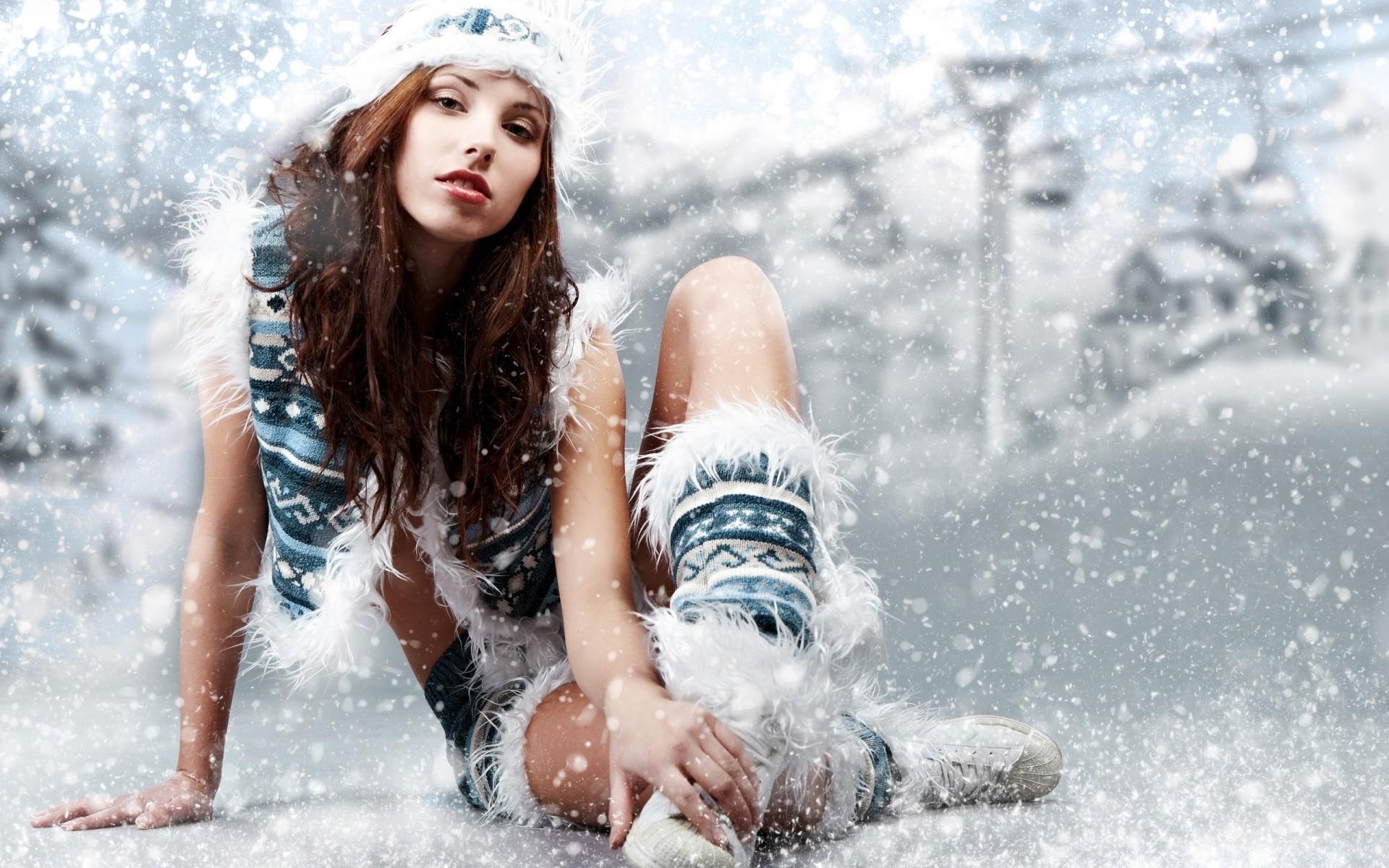 Картинки на рабочий стол девушки зима