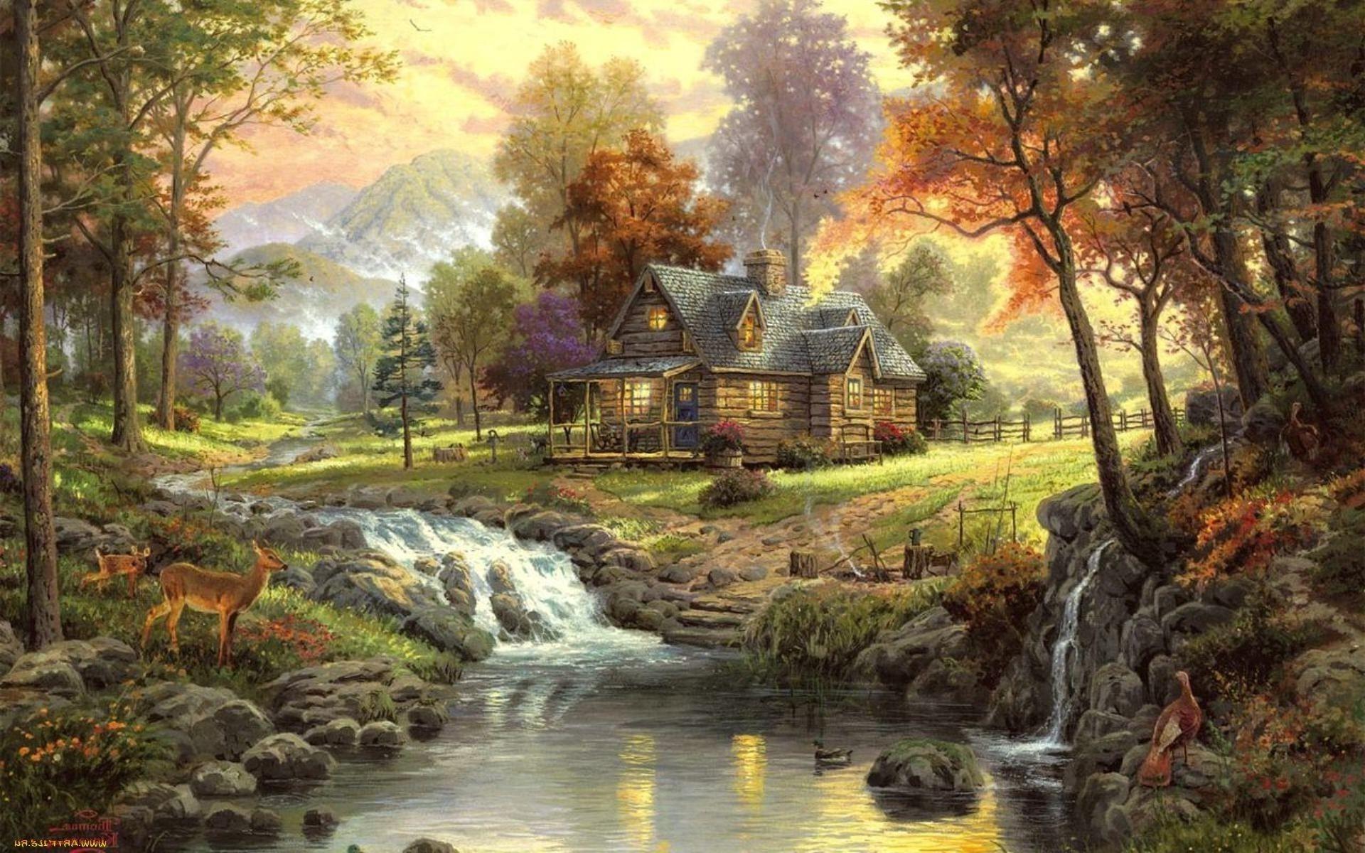 Открытки, открытки с пейзажами рисованные