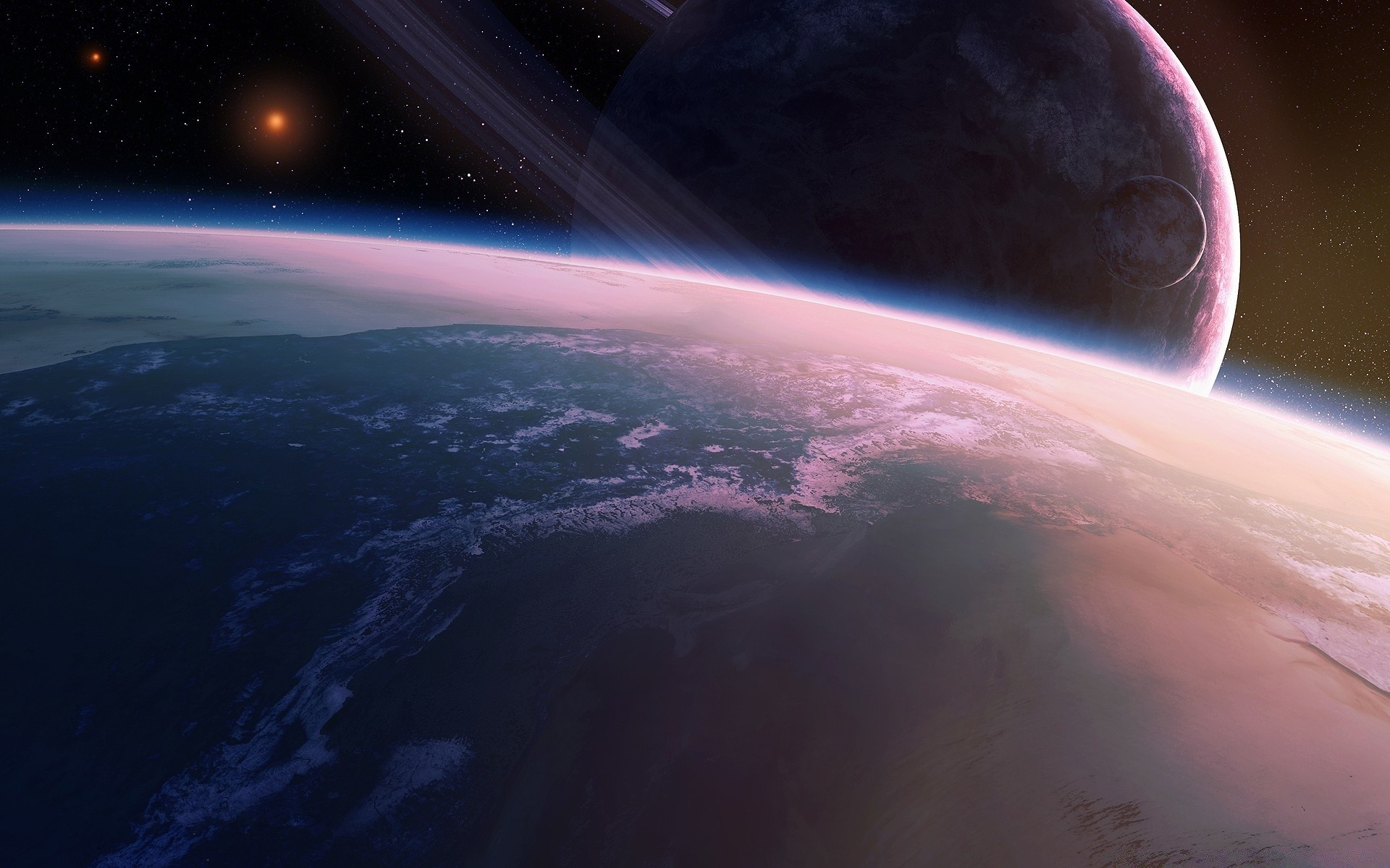 Обои Планета и спутник картинки на рабочий стол на тему Космос - скачать  № 43051  скачать
