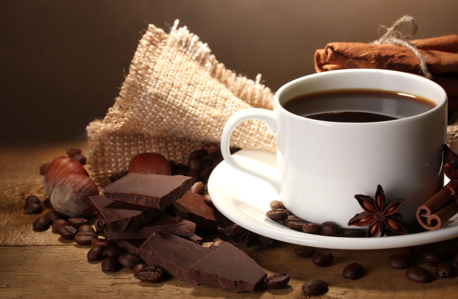 Shokolad Zerna Kofe Coffee Orehi Chashka Oboi Dlya Rabochego Stola