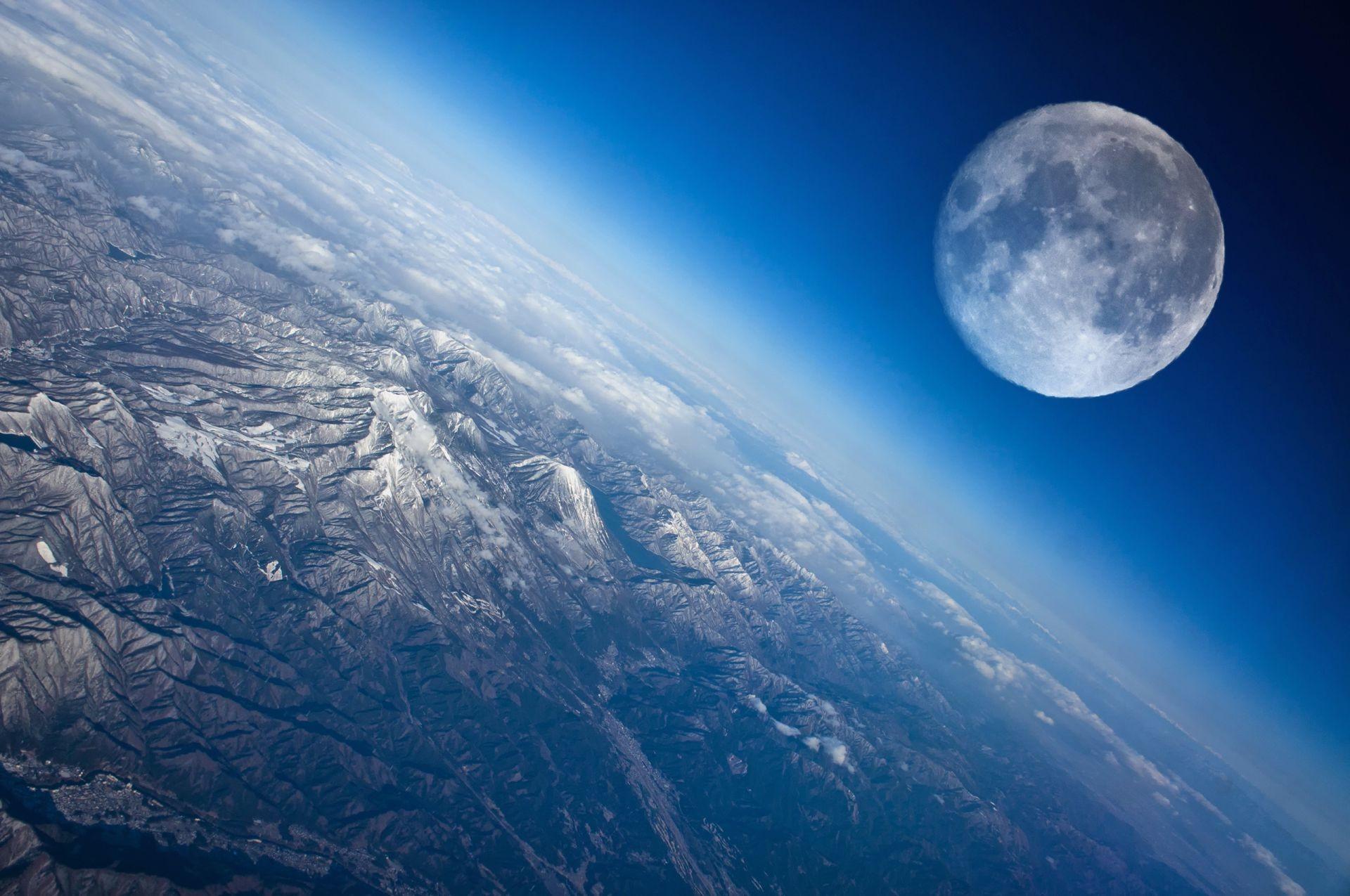 Луна вид планета земля скачать обои