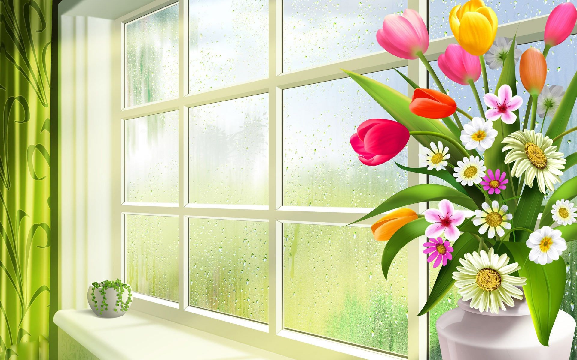 Весна цветы ромашки тюльпаны зелень ваза горшок стекл - скач.