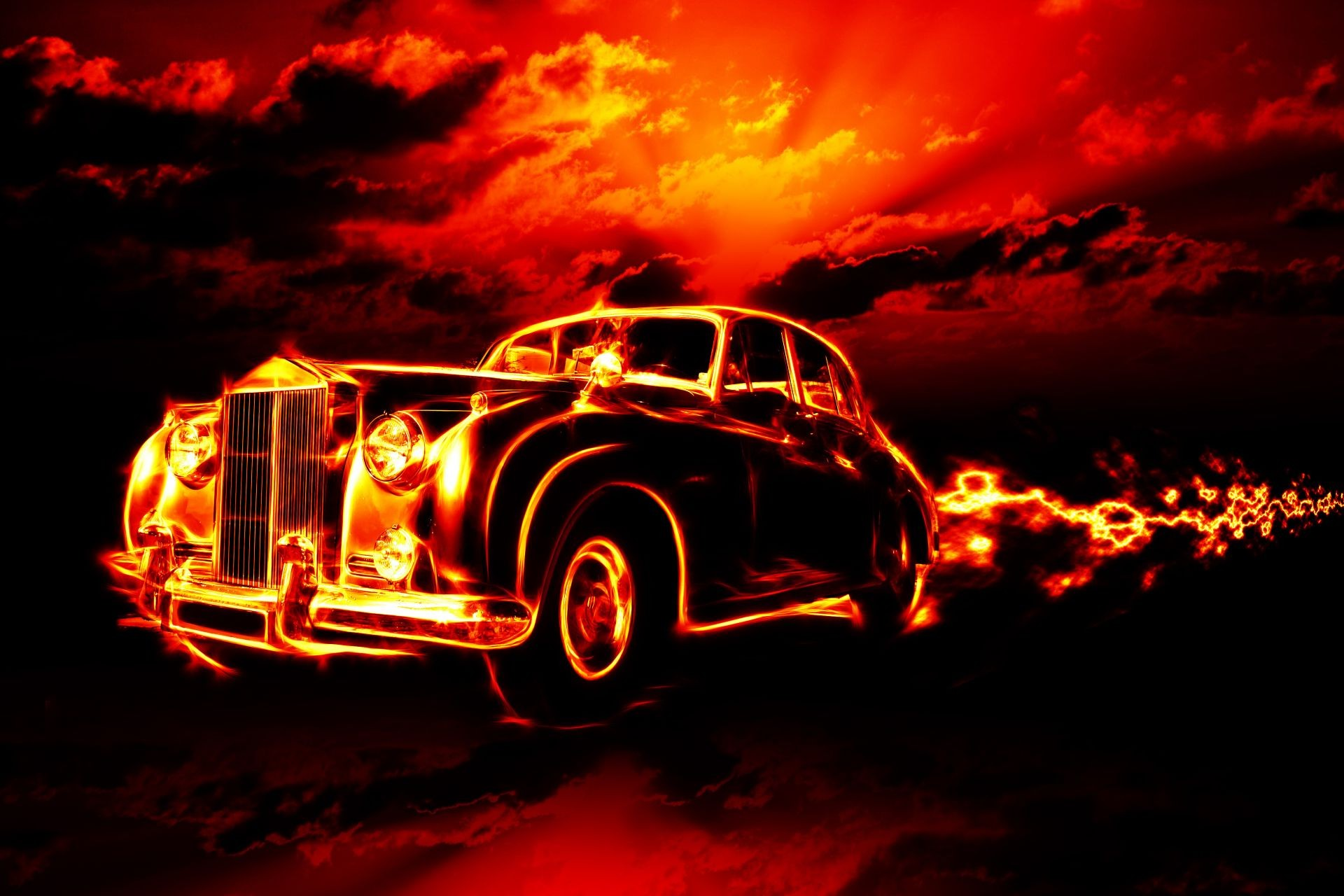 classic car clouds fire flame horror red sky hell ci