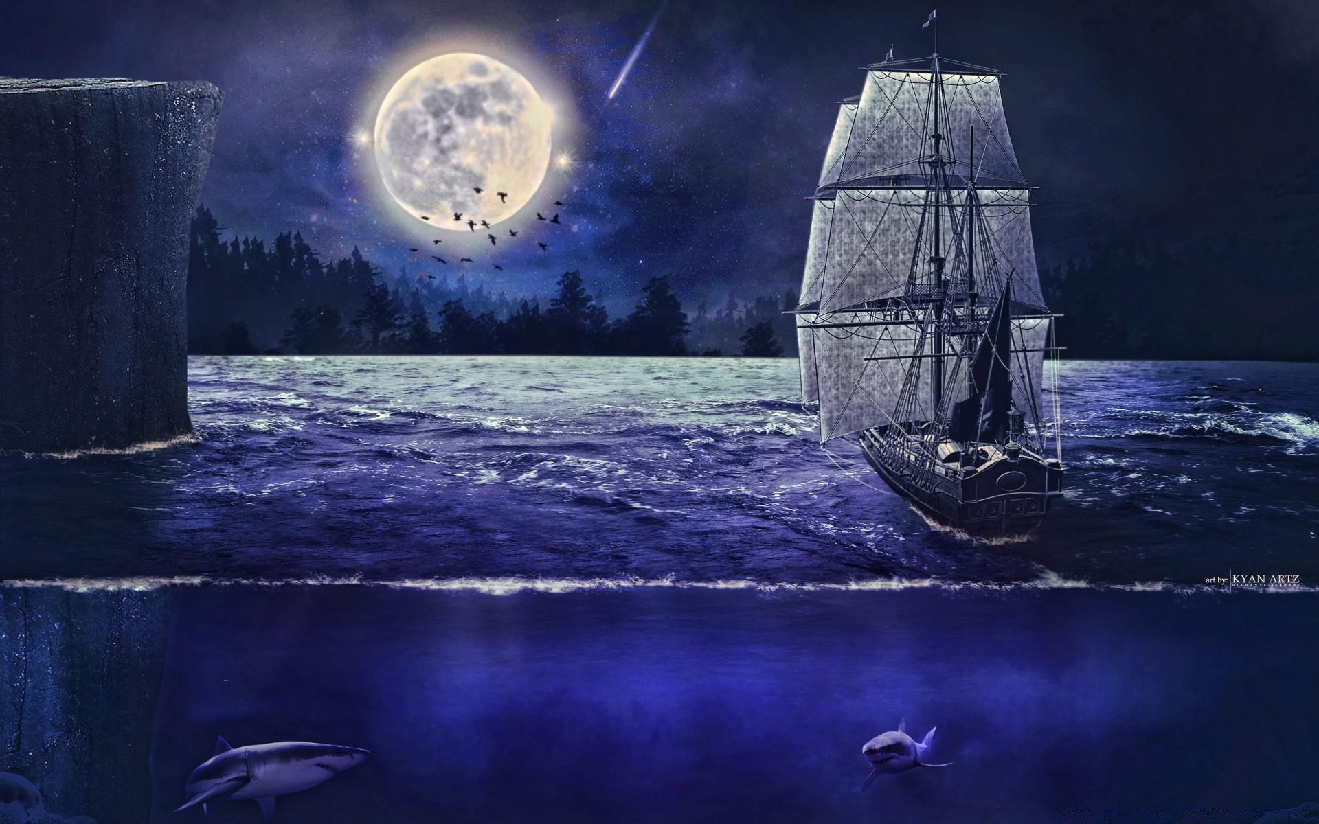 картинки на телефон океан с луной и кораблями этим