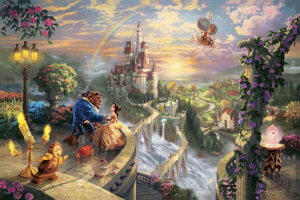 Thomas kinkade the disney dreams collection beauty and the