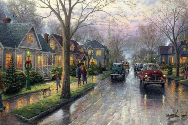 thomas kinkade christmas tree christmas painting Hometow