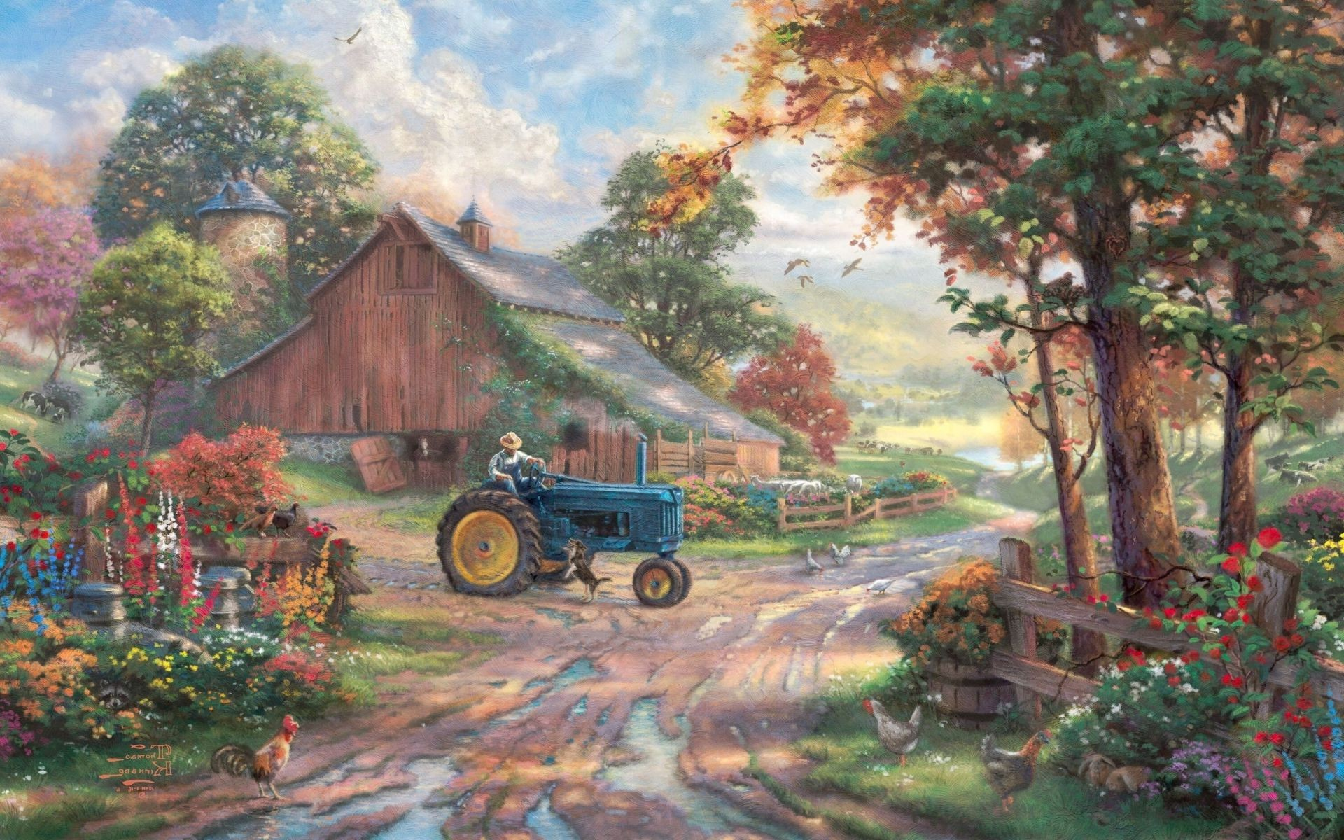 animals Summer heritage dog barn painting summer thoma