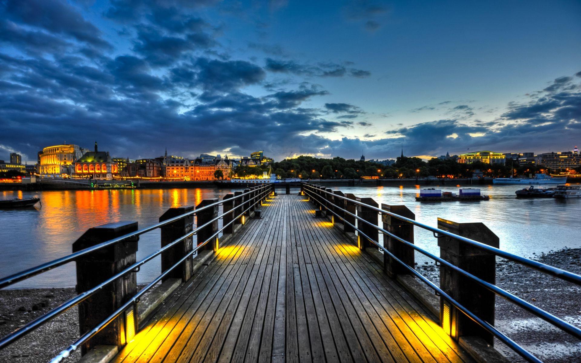 Мост река сумерки  № 3030591 бесплатно