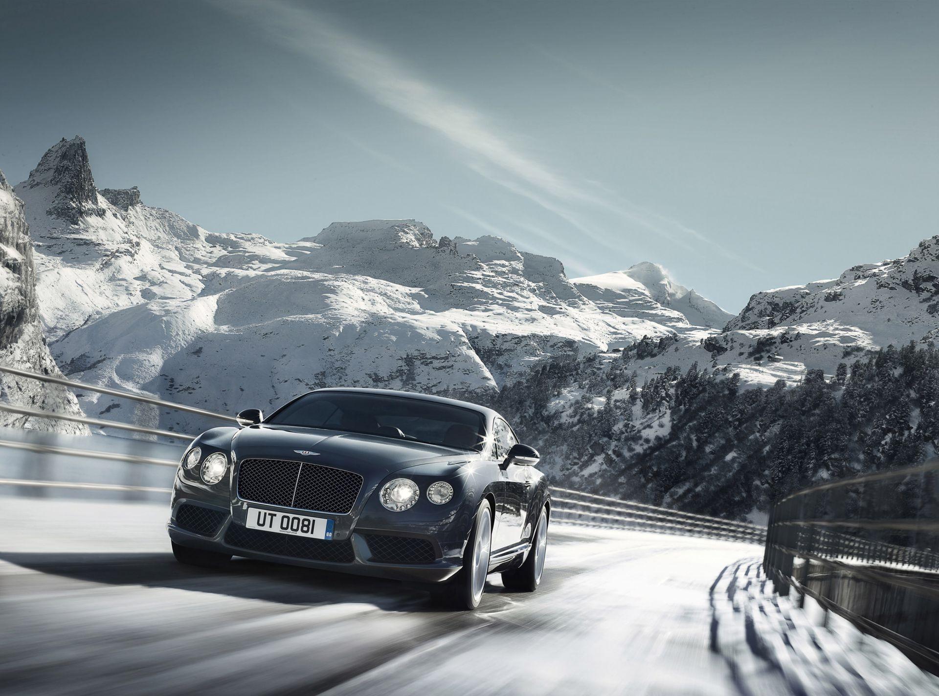 Машина природа горы снег 2012 Bentley Continental Gt V8