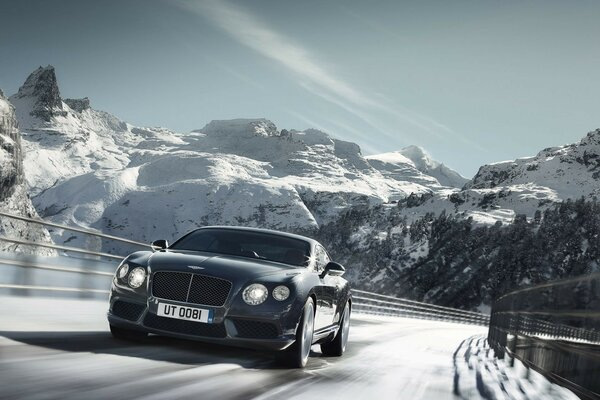 машина природа горы снег 2012 bentley continental gt v8,