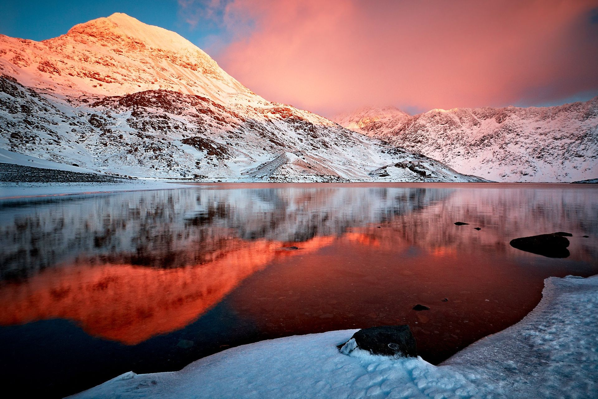 горы отражение закат скачать