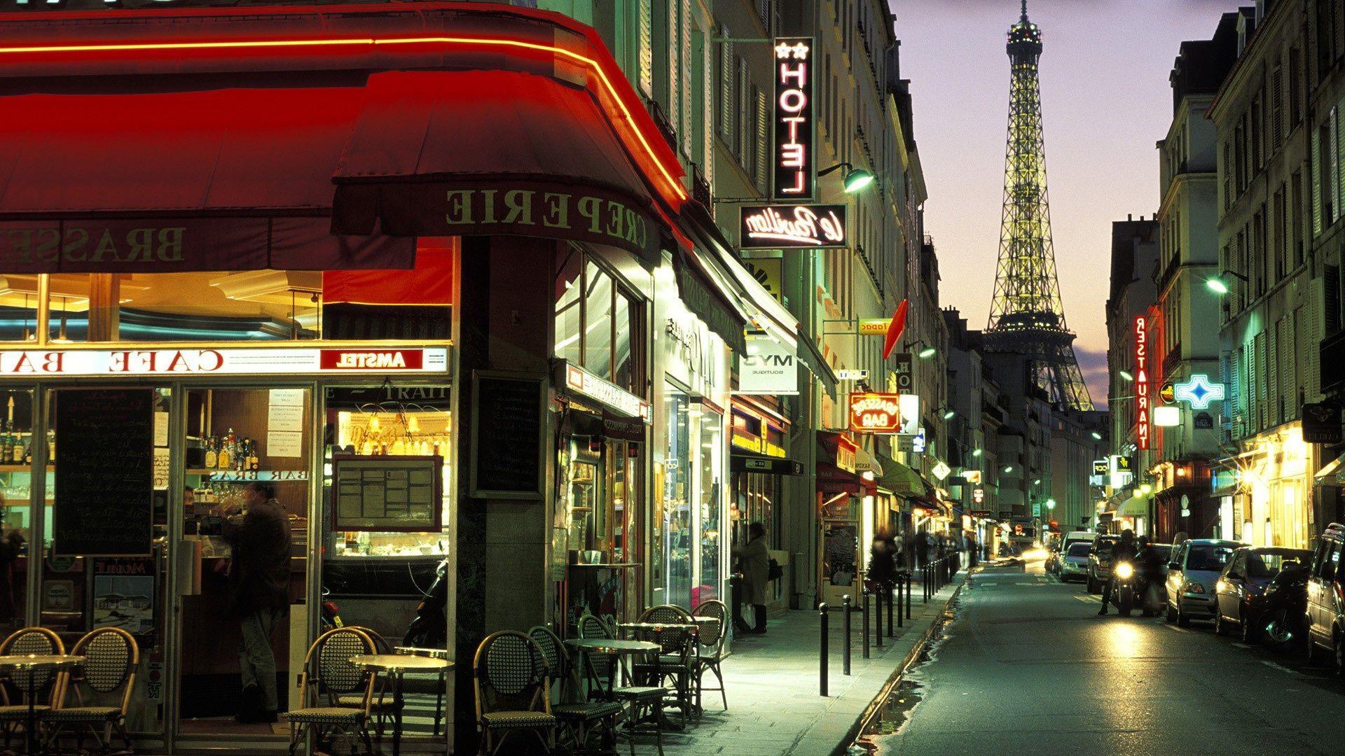 Обои для рабочего стола парижский кафе