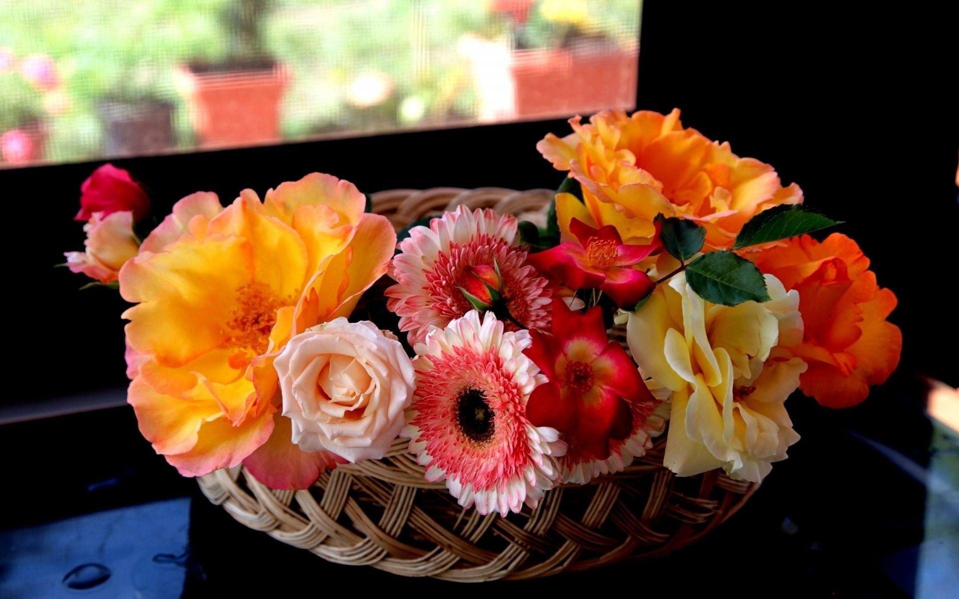 природа цветы корзина без смс
