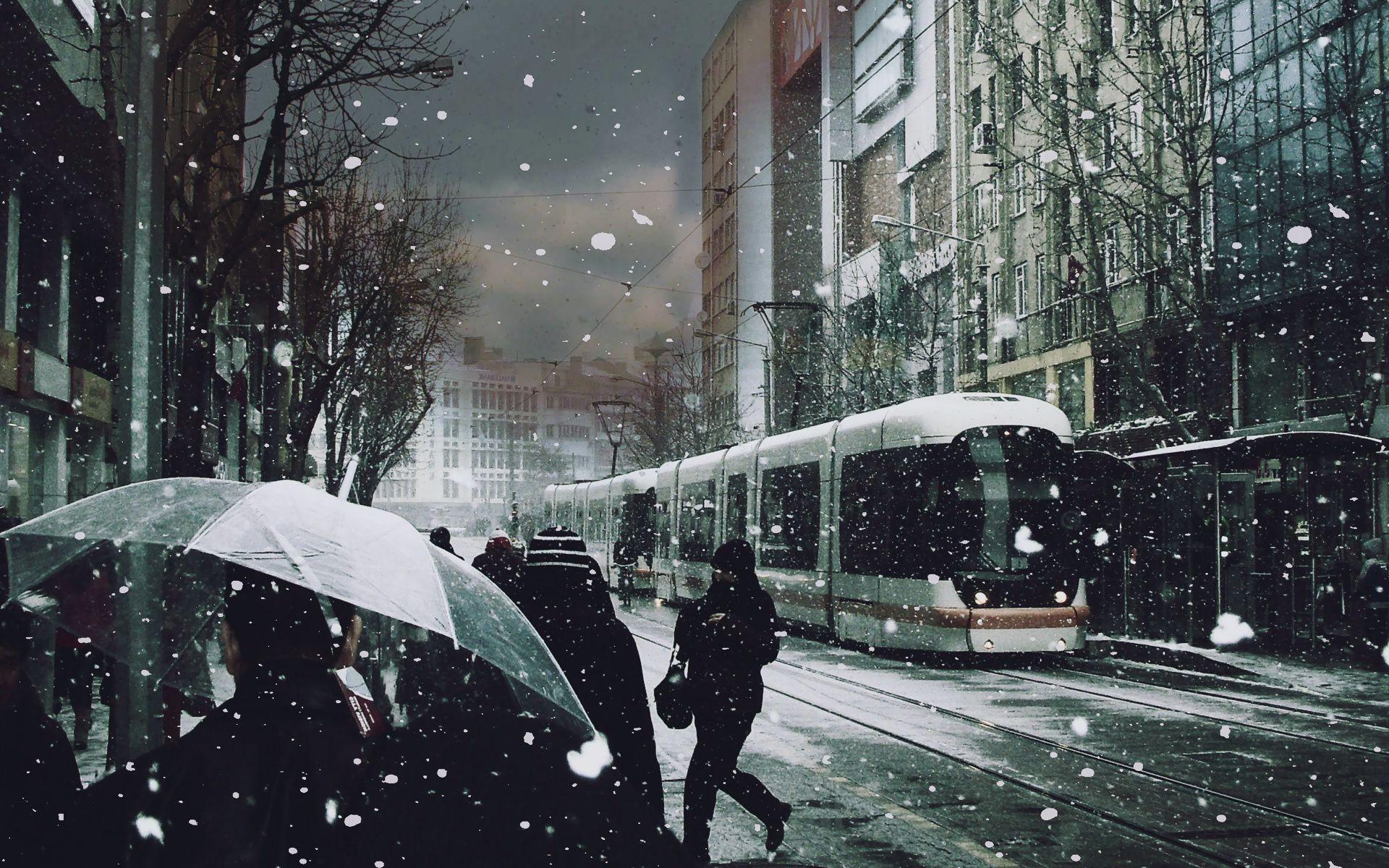 Обои трамвай, люди, улица, дома. Города foto 13