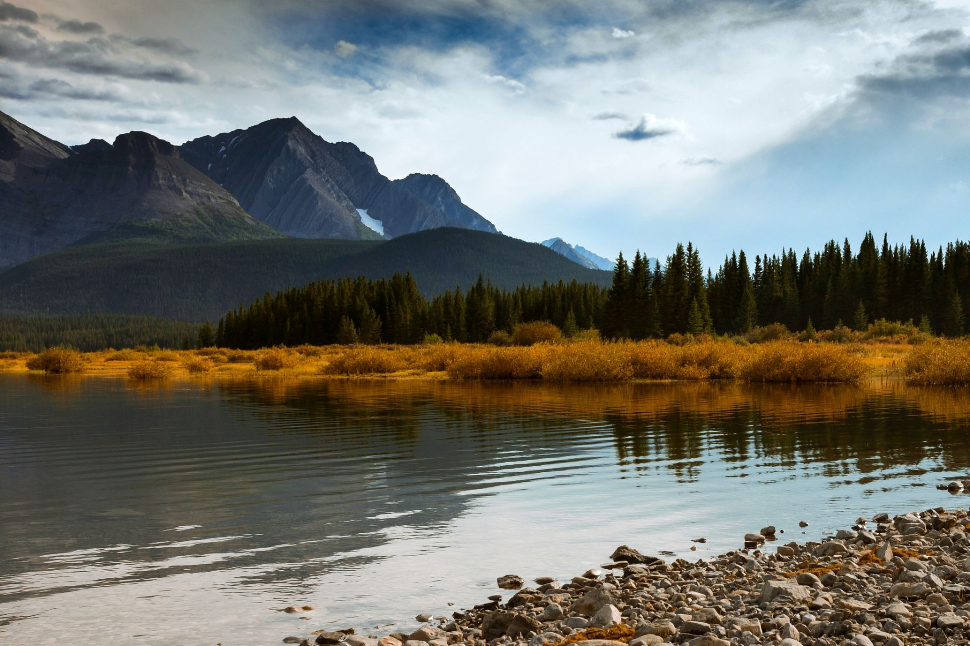 forest mountains sky canada trees lake blue autumn a