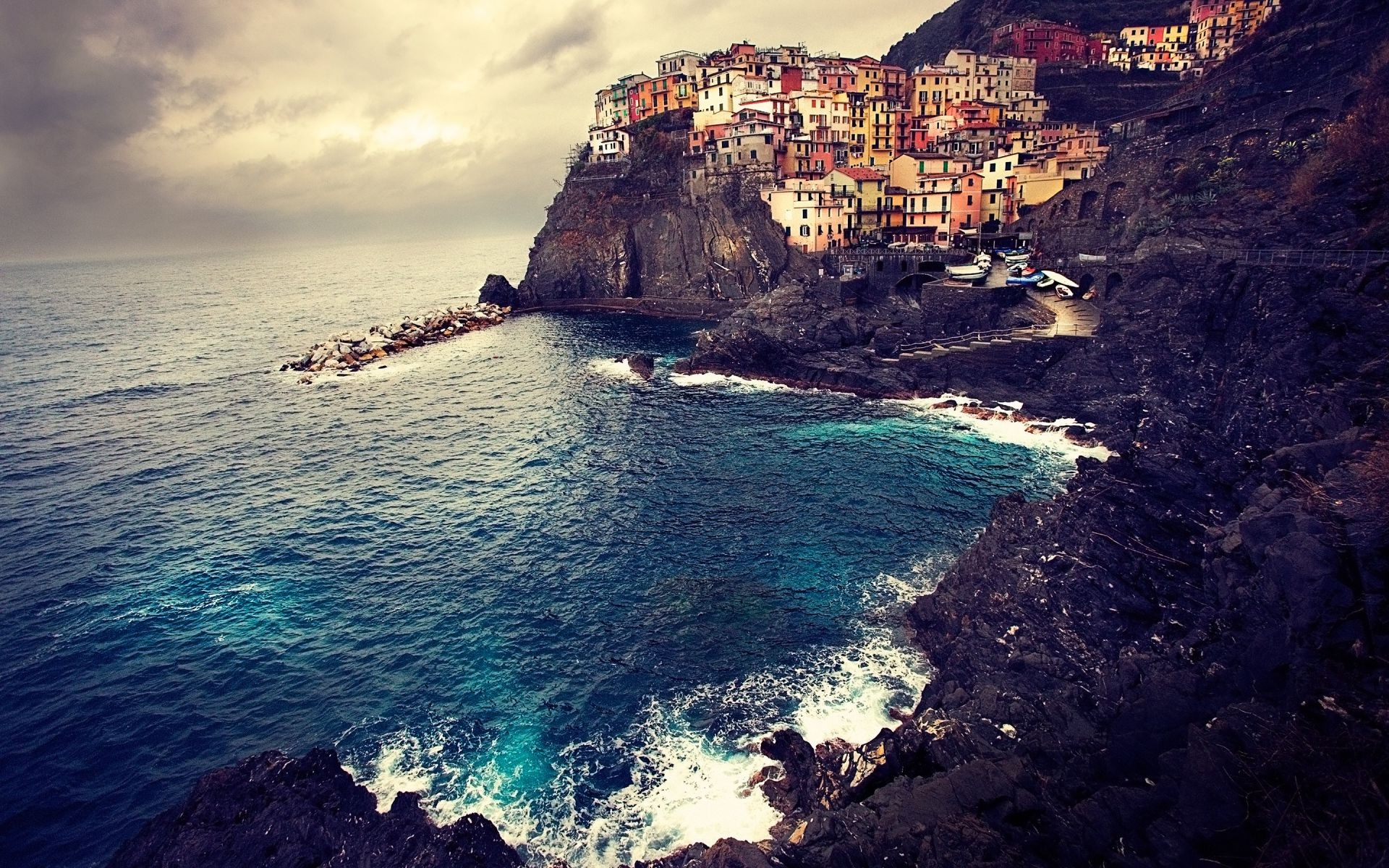 Обои дома, скалы, Пейзаж, Manarola, italy, побережье. Города foto 8