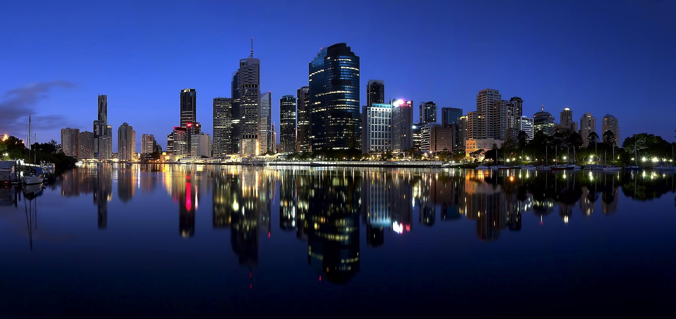 Обои набережная, ночь, австралия, фонари. Города foto 19