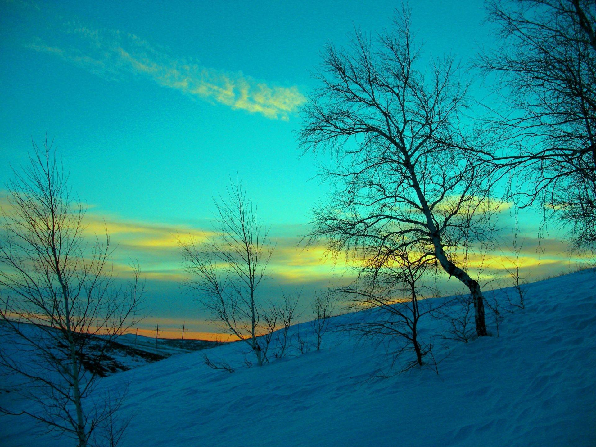 Март снег зима холод мороз вечер небо