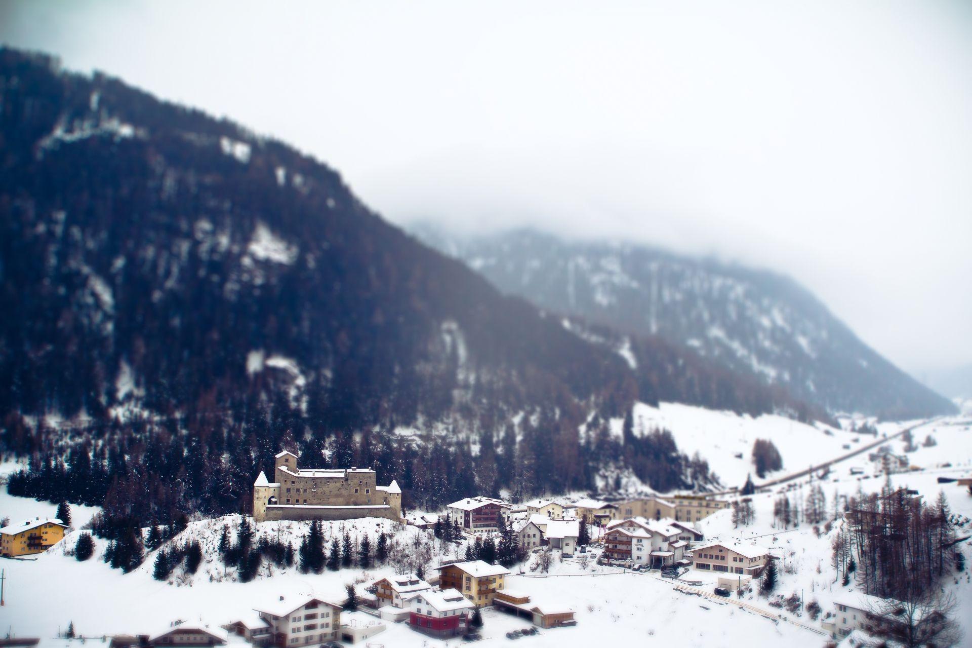 Обои альпы, тилт-шифт, курорт, городок. Города foto 19