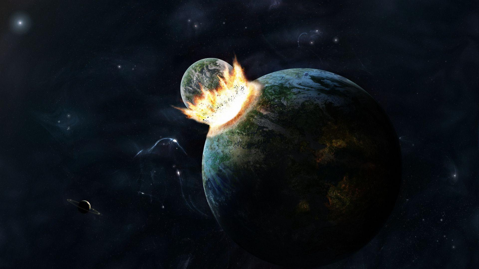 Взрыв столкновение планеты космос