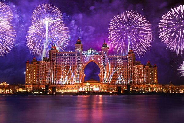 салют дубай вода вода Atlantis the palm феерверк dubai