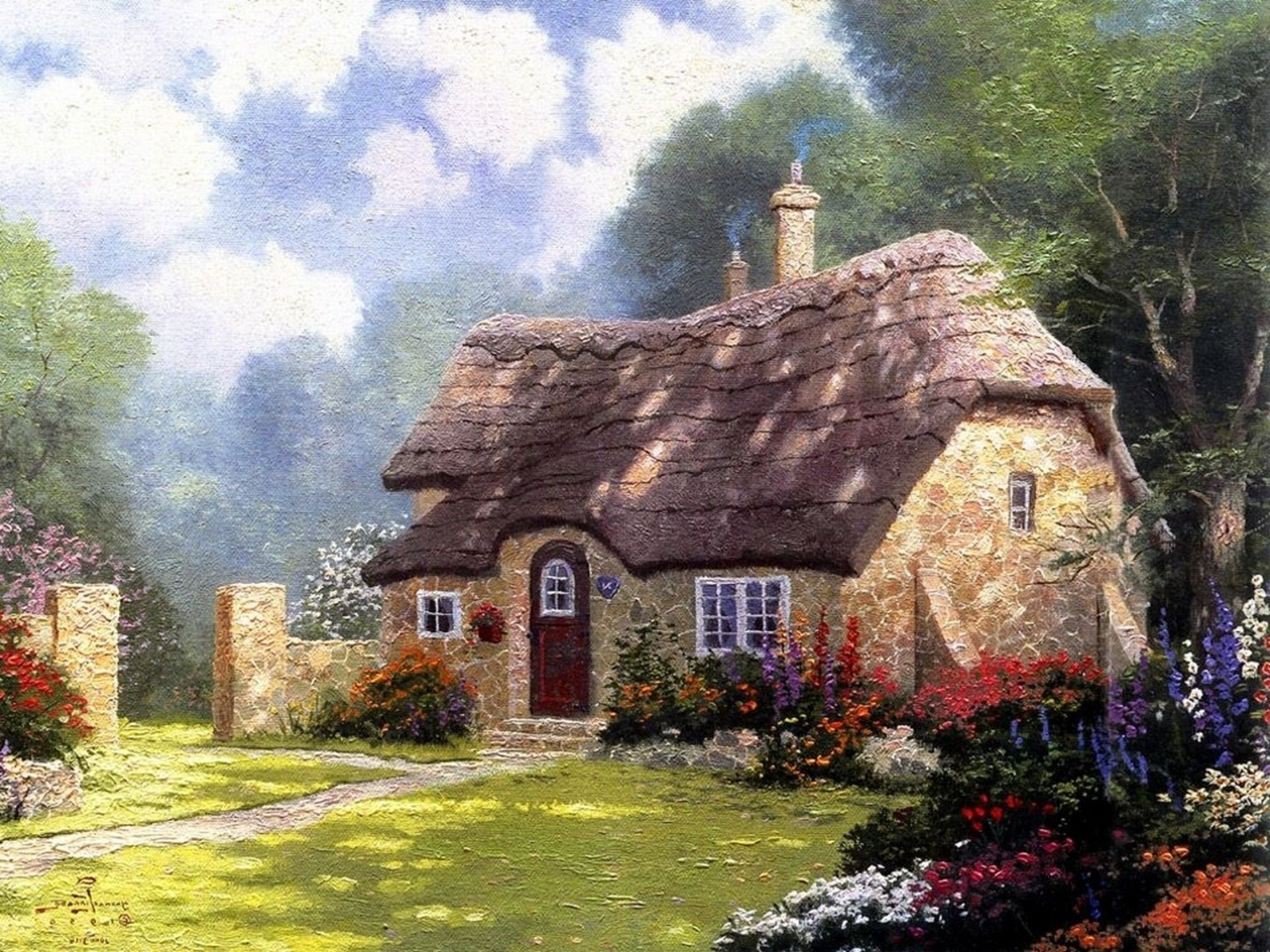 Cottage in the forest cottage summer томас кинкейд thoma