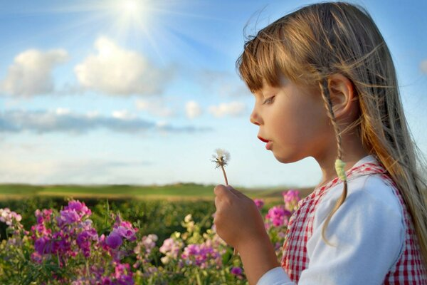 children roses child summer sky happy happiness Littl