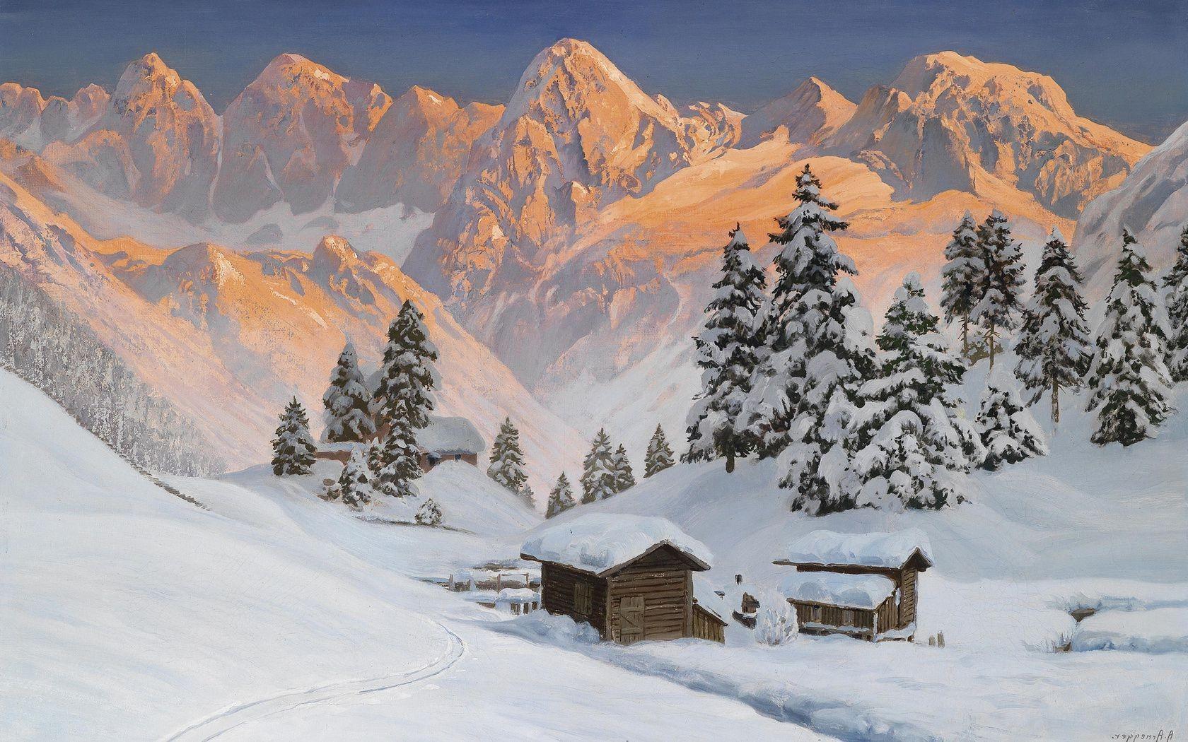 Зимние альпы обои на рабочий стол