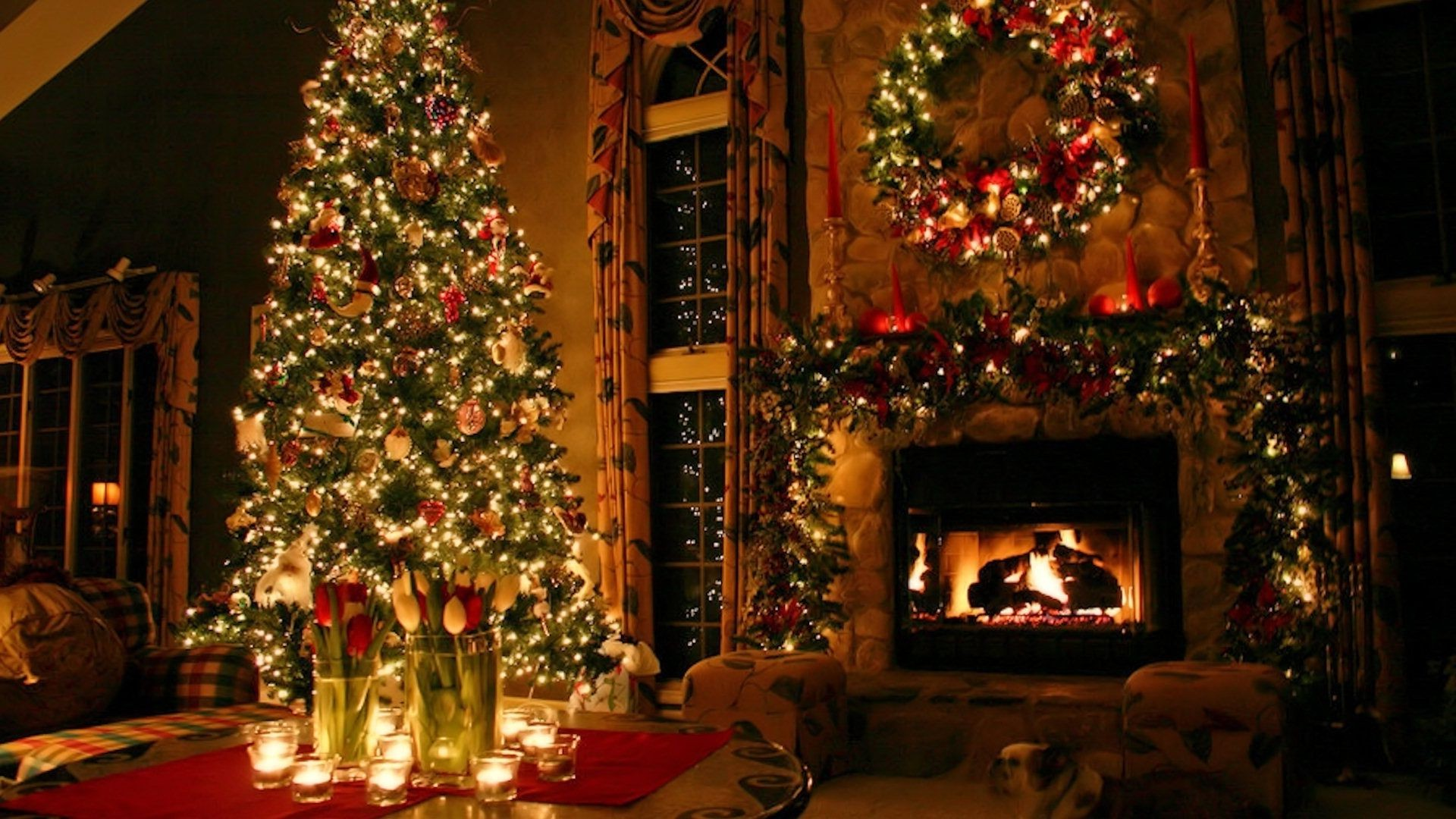 праздник новый год украшения дом в хорошем качестве